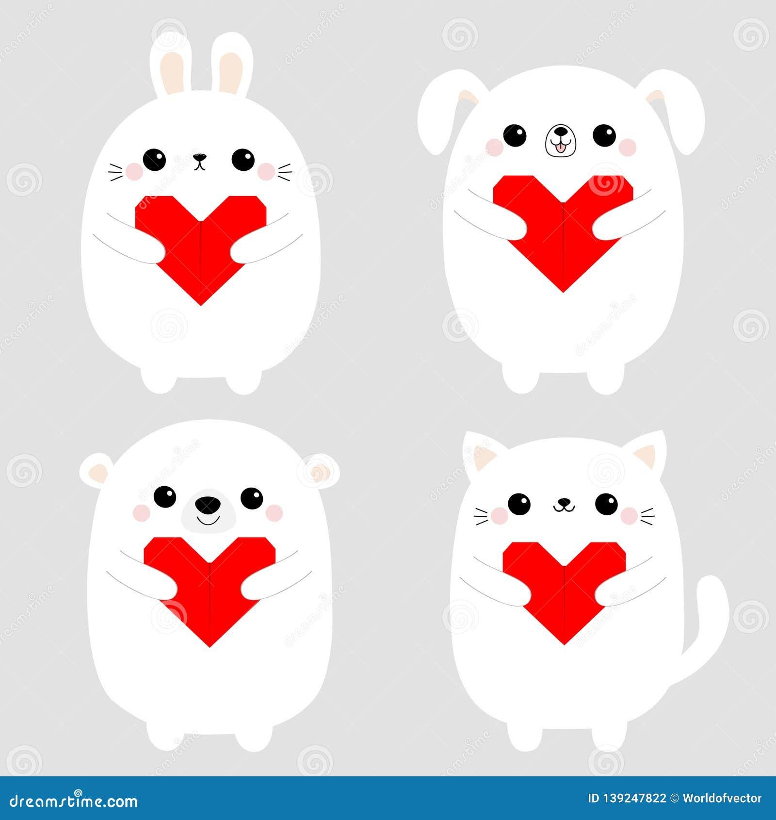 A cara principal do cachorrinho branco do cão do urso da lebre do gatinho do gato do coelho ajustou guardar o coração vermelho do
