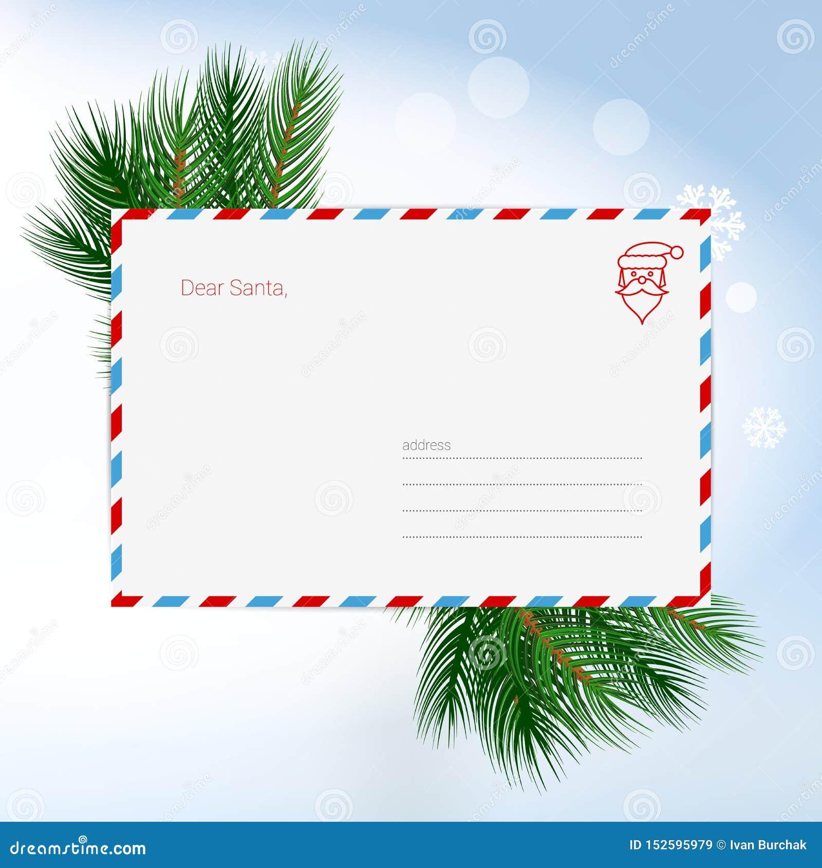 Cara Santa Christmas Letter no envelope, lista de objetivos pretendidos da criança para Santa Claus Cart?o em branco Ilustra??o d