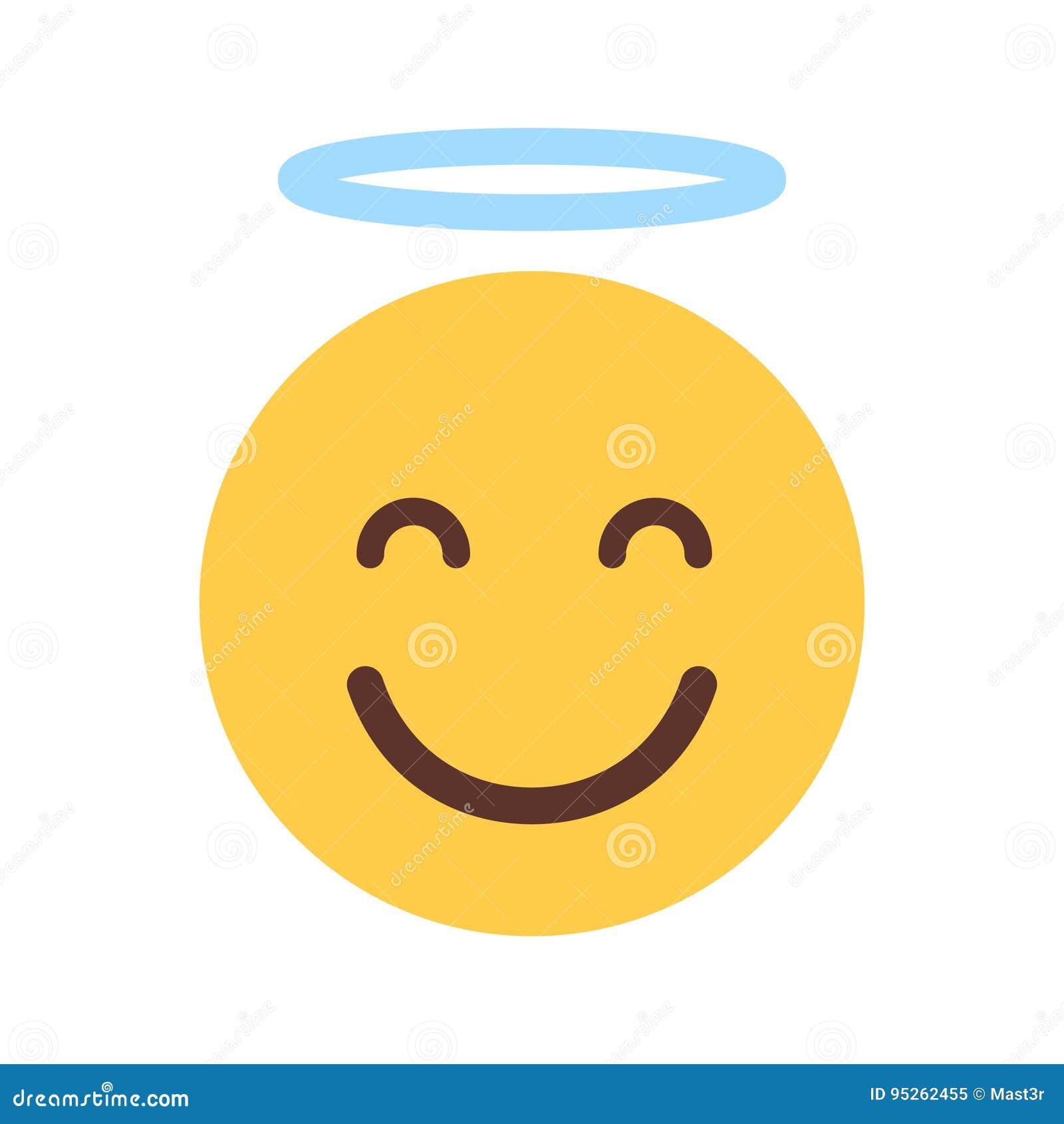 Cara sonriente amarilla Angel Emoji People Emotion Icon lindo de la historieta