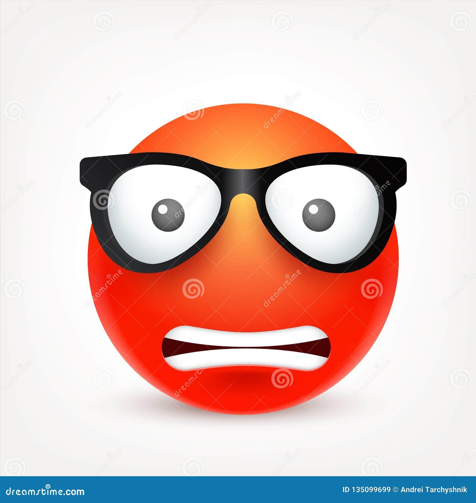 Cara Sonriente Roja Con Emociones Emoji Realista Humor Triste O