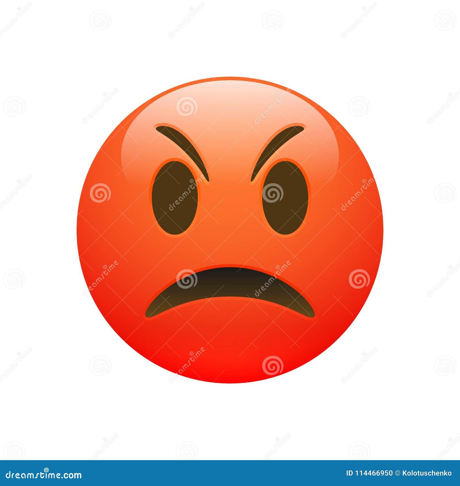 Cara triste irritada vermelha de Emoji do vetor