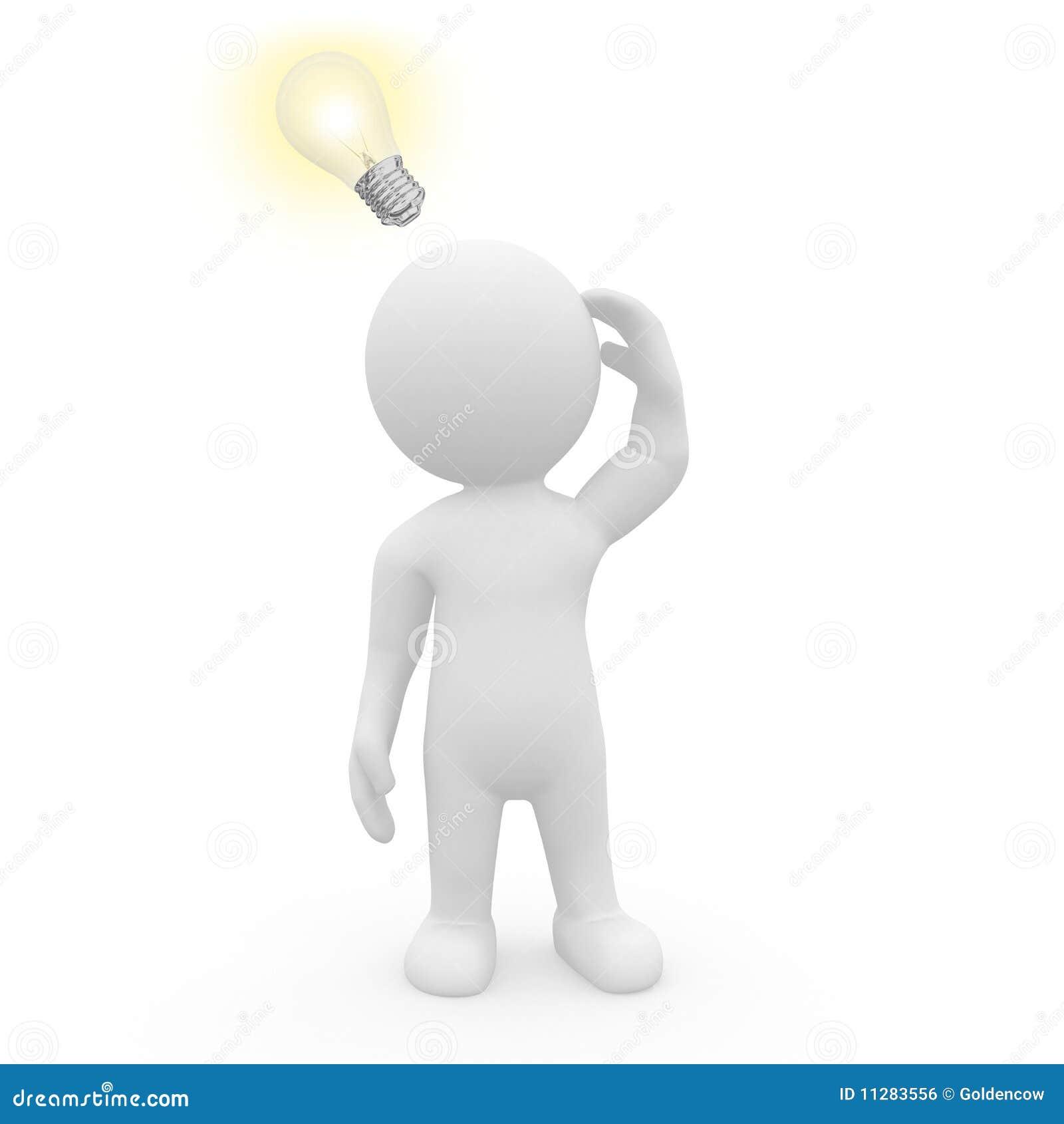Caractère 3D avec l ampoule lumineuse