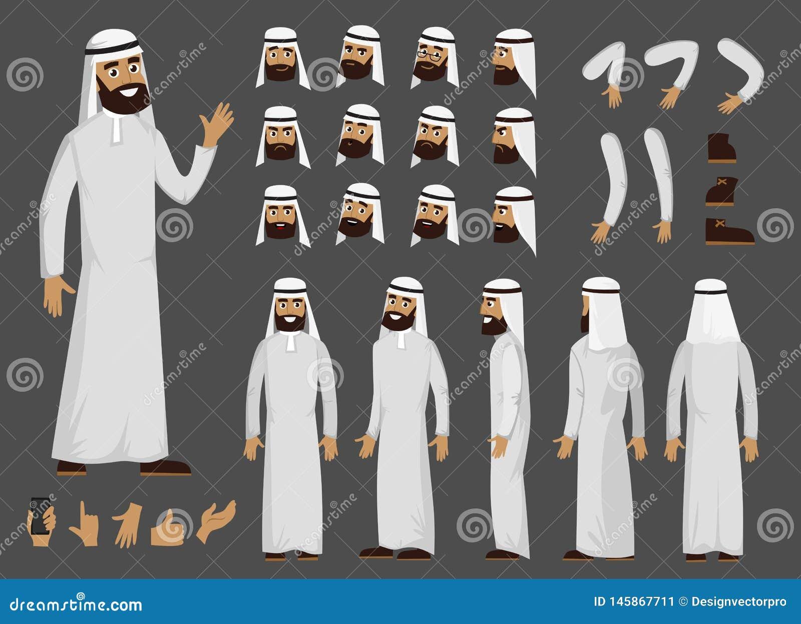 Caractère arabe musulman de créateur d homme avec des émotions et la vue faciales différentes de corps Caractère arabe d homme de