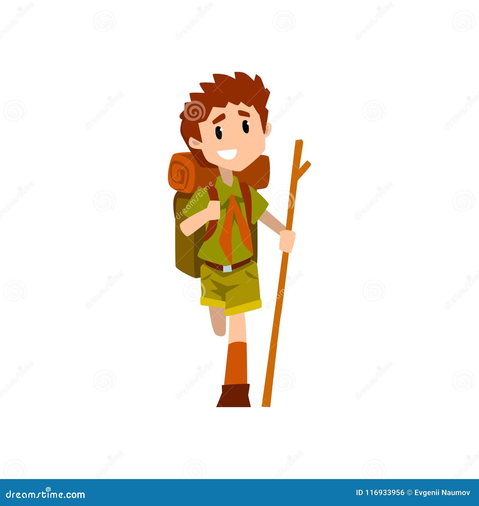 Caractère blessé de scout de garçon dans l uniforme avec la jambe cassée et le bâton en bois, les aventures extérieures et l acti