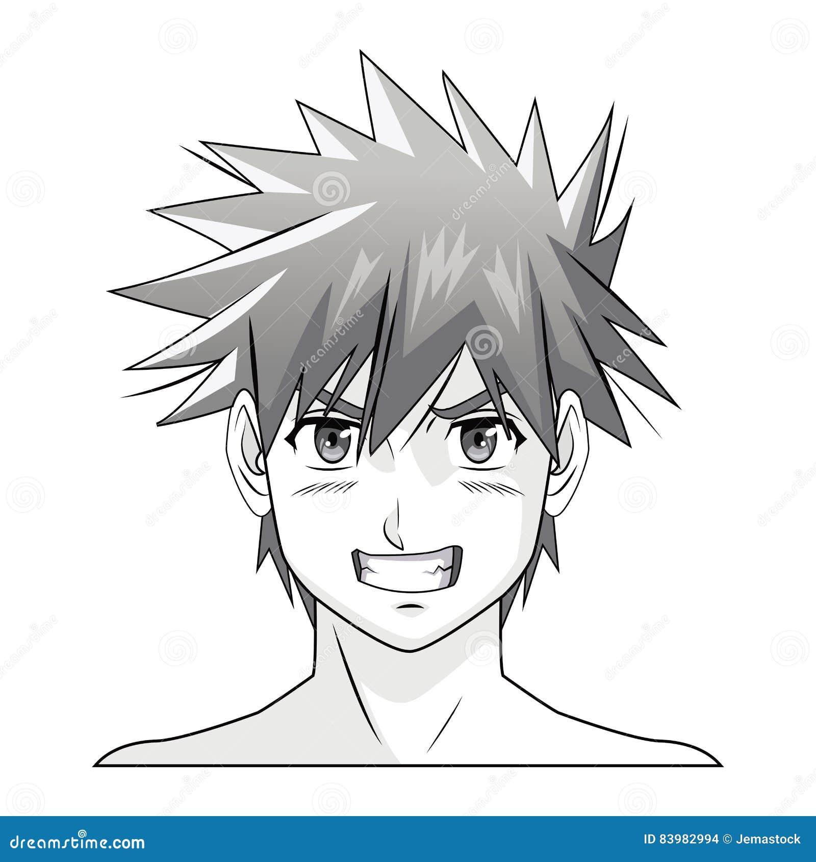 Caractère Comique De Manga D Anime De Garçon De Visage