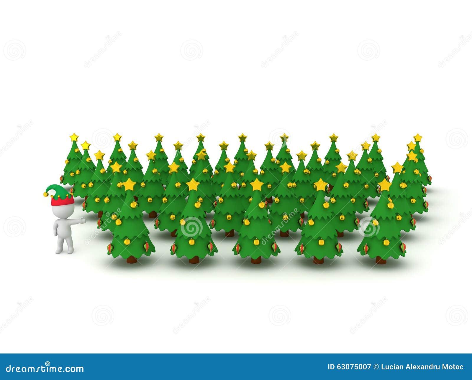 Download Caractère 3D Avec Le Chapeau D'Elf Montrant Beaucoup D'arbres De Noël Illustration Stock - Illustration du arbre, caractère: 63075007