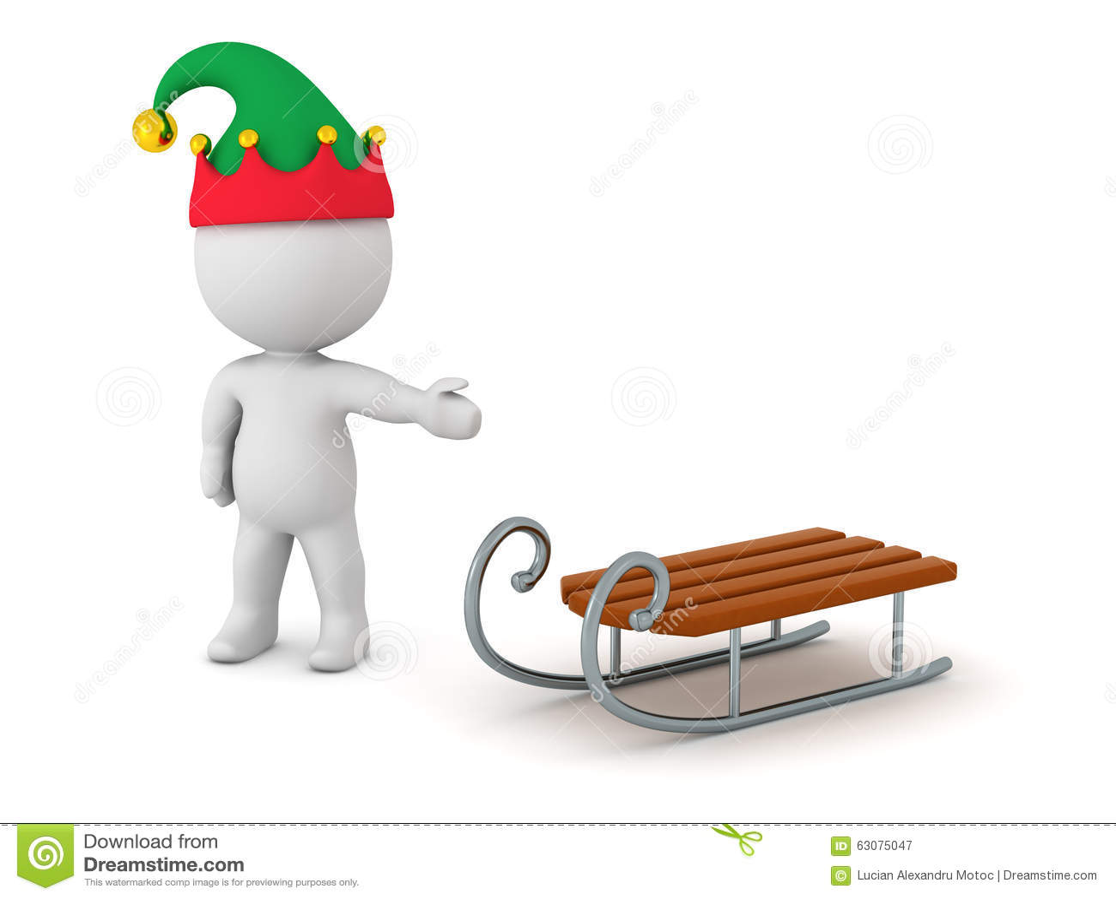 Download Caractère 3D Avec Le Chapeau D'Elf Montrant Toy Sled Illustration Stock - Illustration du petit, mignon: 63075047