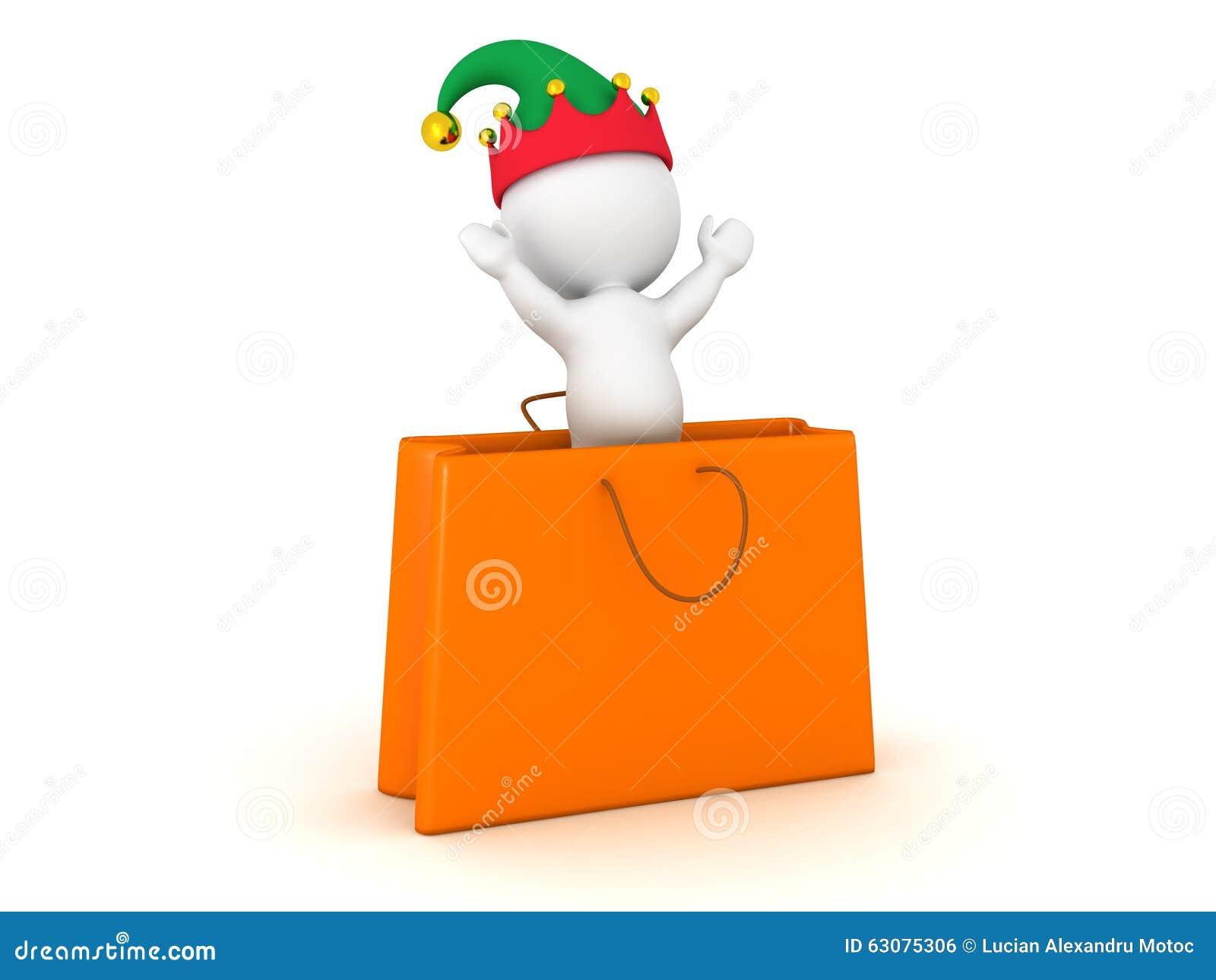Download Caractère 3D Avec Sauter De Chapeau D'Elf Du Sac De Cadeau Illustration Stock - Illustration du caractère, noël: 63075306