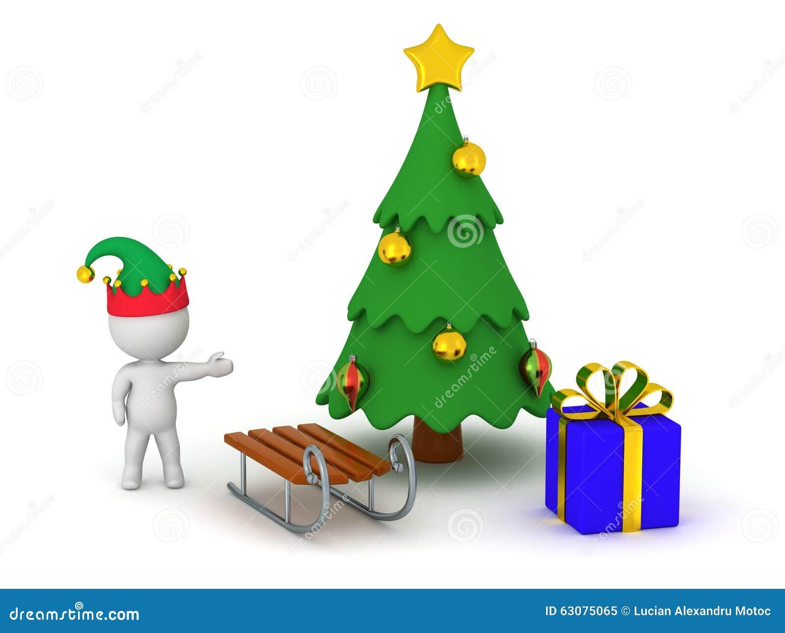 Download Caractère 3D Montrant L'arbre De Noël Avec Le Cadeau Et Le Traîneau Illustration Stock - Illustration du elfe, décorations: 63075065