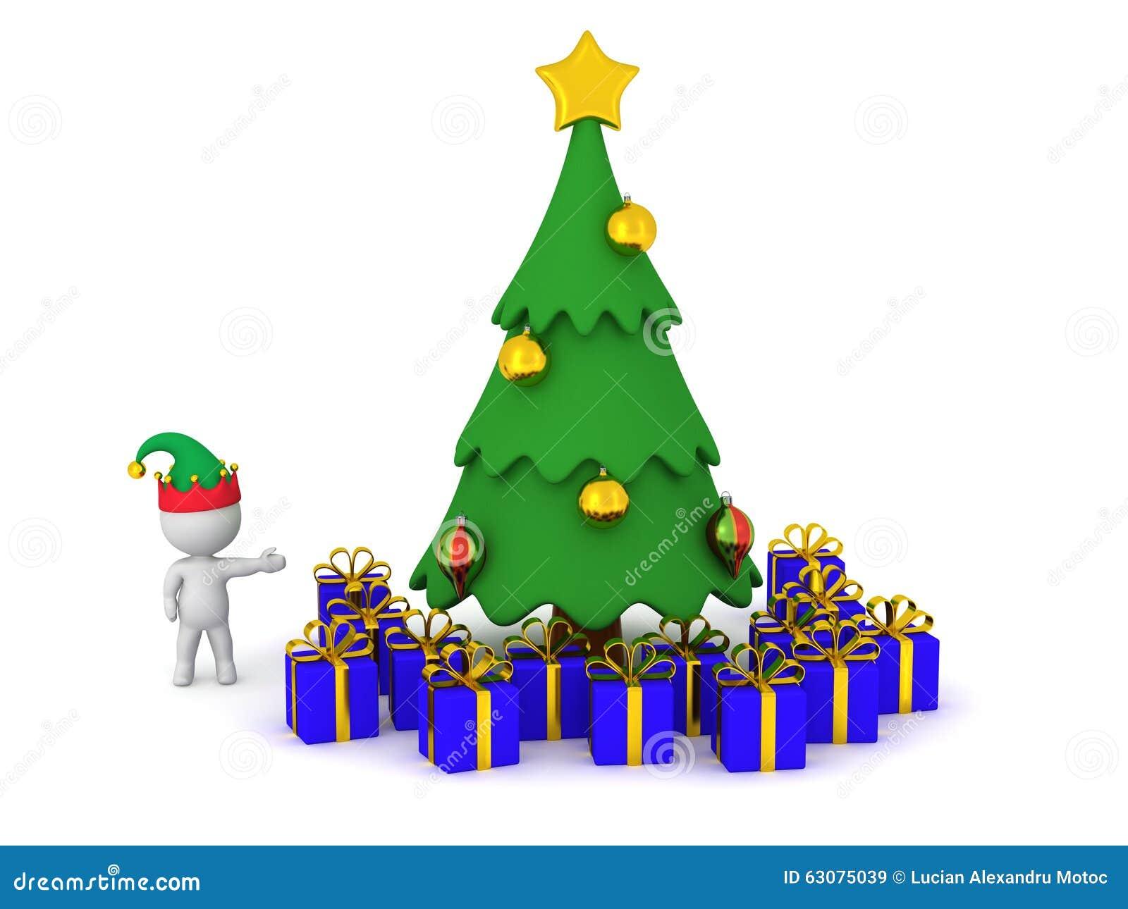 Download Caractère 3D Montrant L'arbre De Noël Cartoonish Avec Le Cadeau Enveloppé Illustration Stock - Illustration du sucreries, saisonnier: 63075039