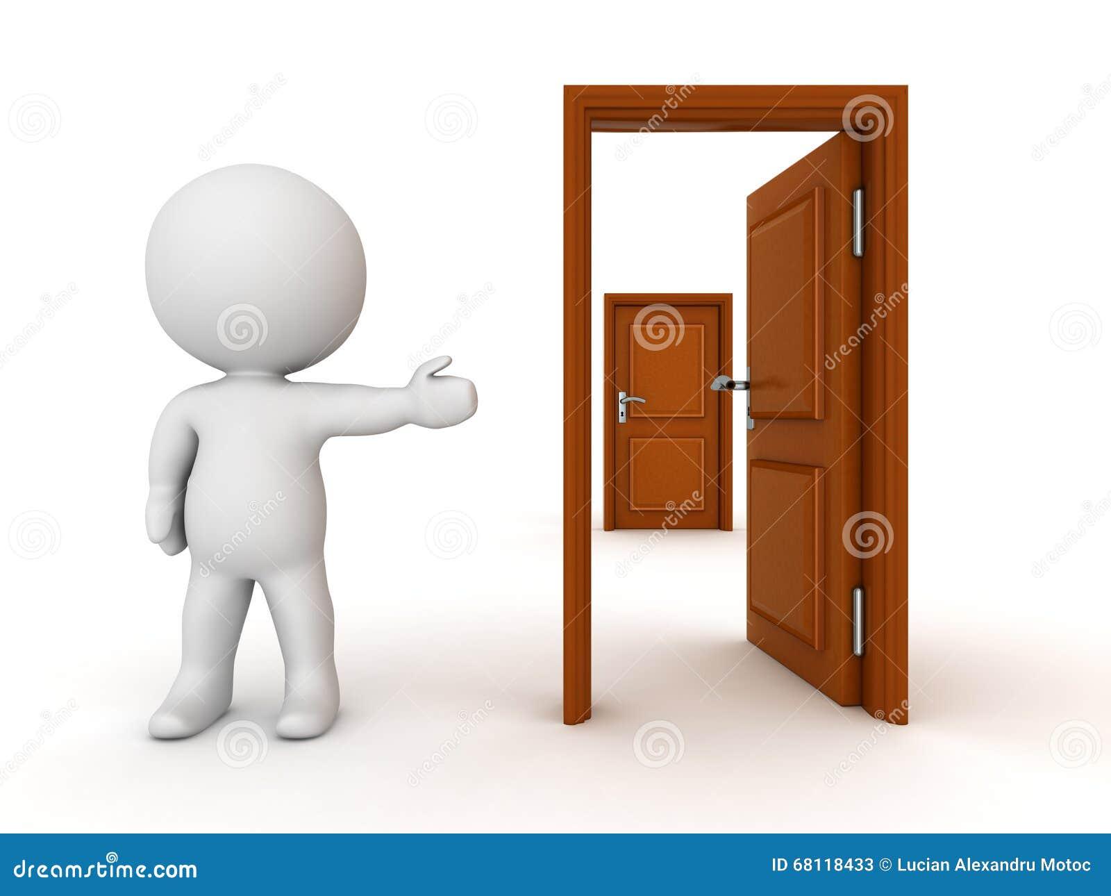 Caract re 3d montrant la porte ferm e derri re la porte for Porte ouverte