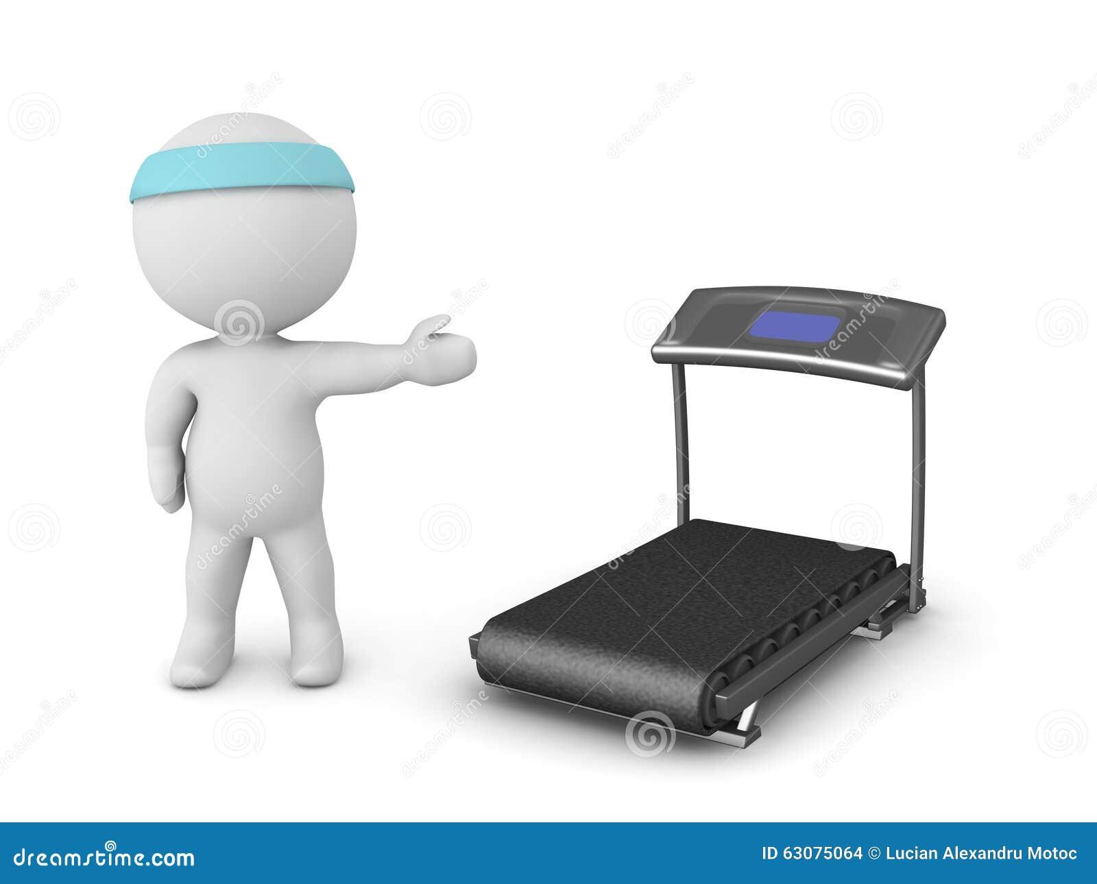 Download Caractère 3D Montrant Le Tapis Roulant Illustration Stock - Illustration du running, personne: 63075064
