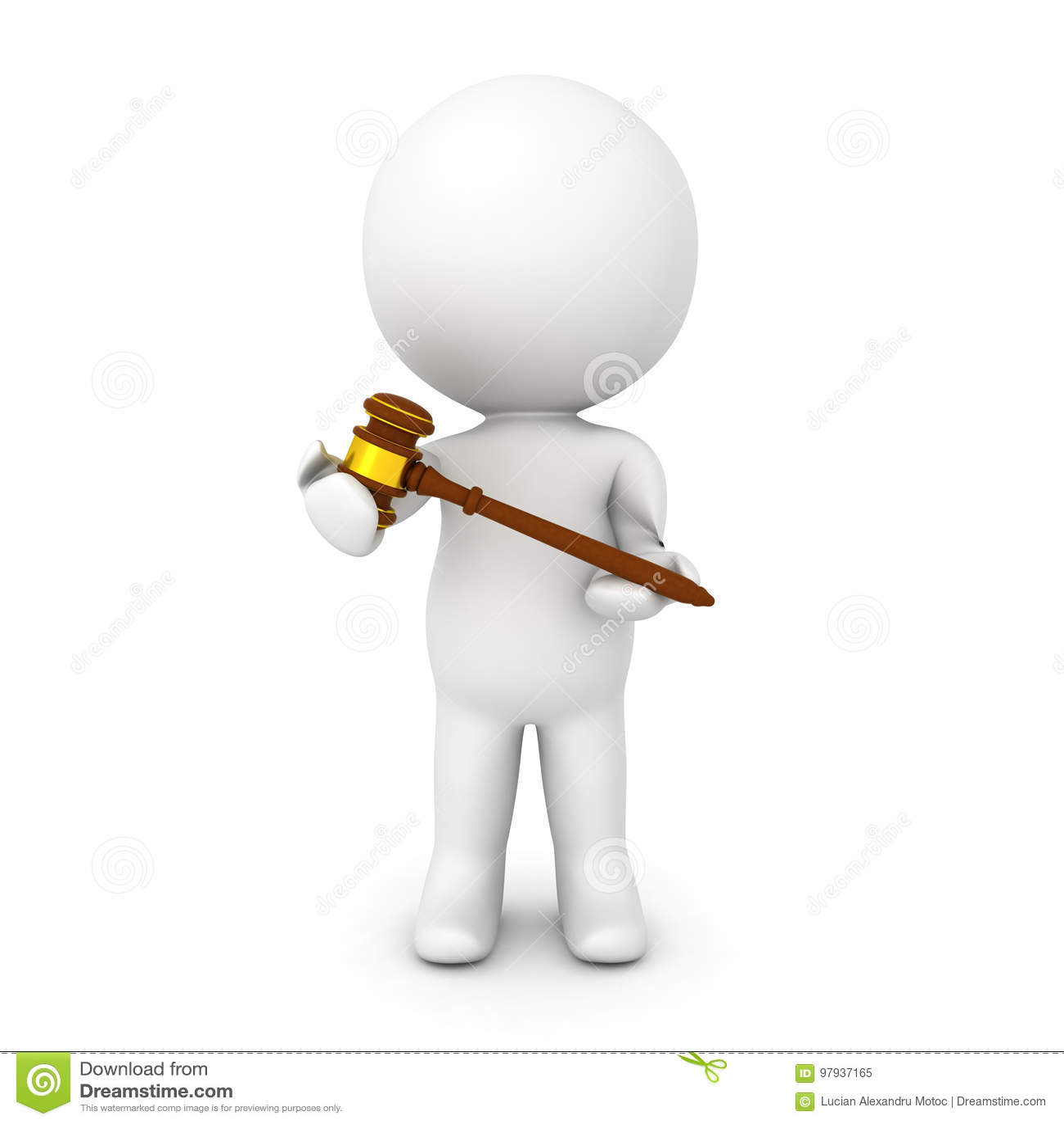 Caractère 3D tenant le marteau dans des ses mains