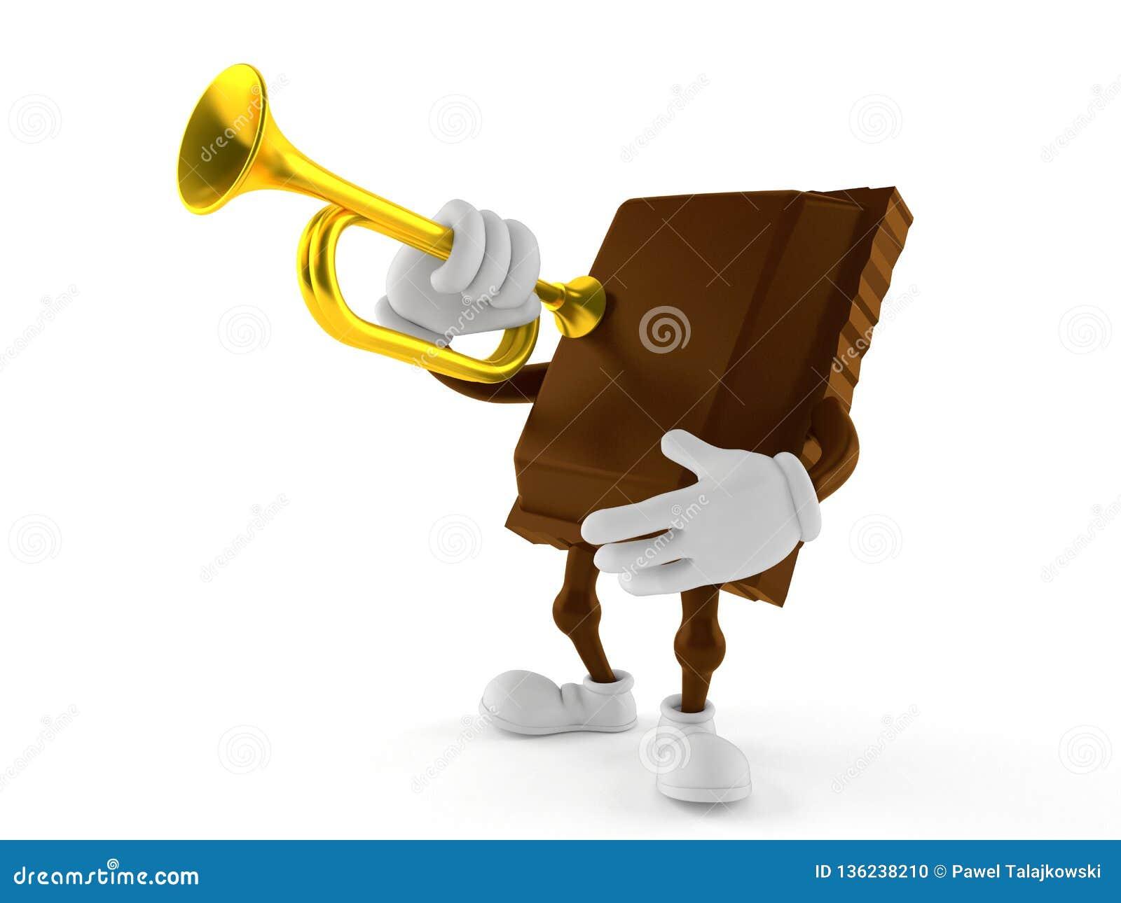 Caractère de chocolat jouant la trompette