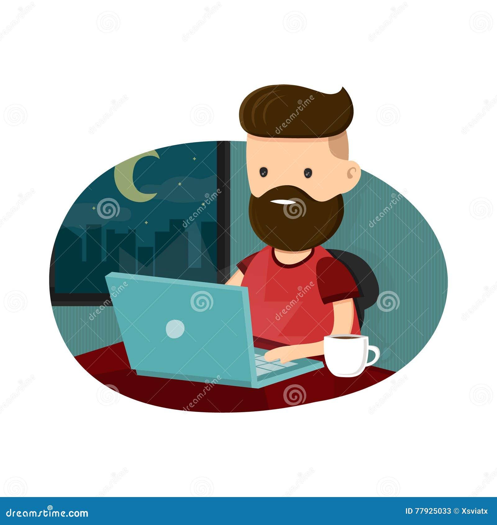 Caractère de hippie de jeunes hommes se reposant à un ordinateur portable et fonctionnant des heures supplémentaires de fin de nu