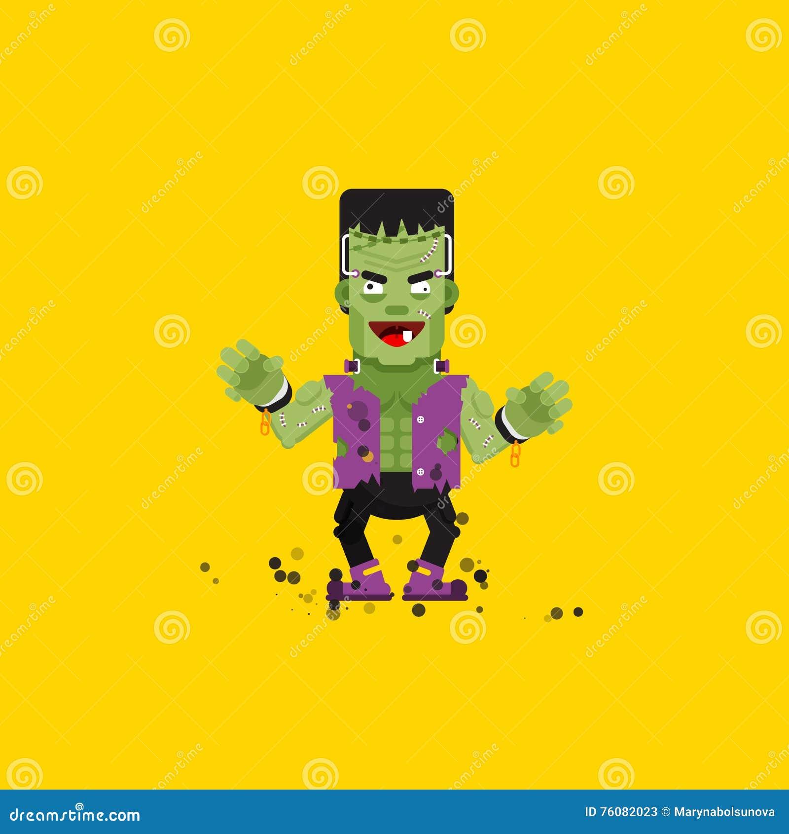 Caractère de monstre de Frankensteins d illustration pour Halloween dans un style plat