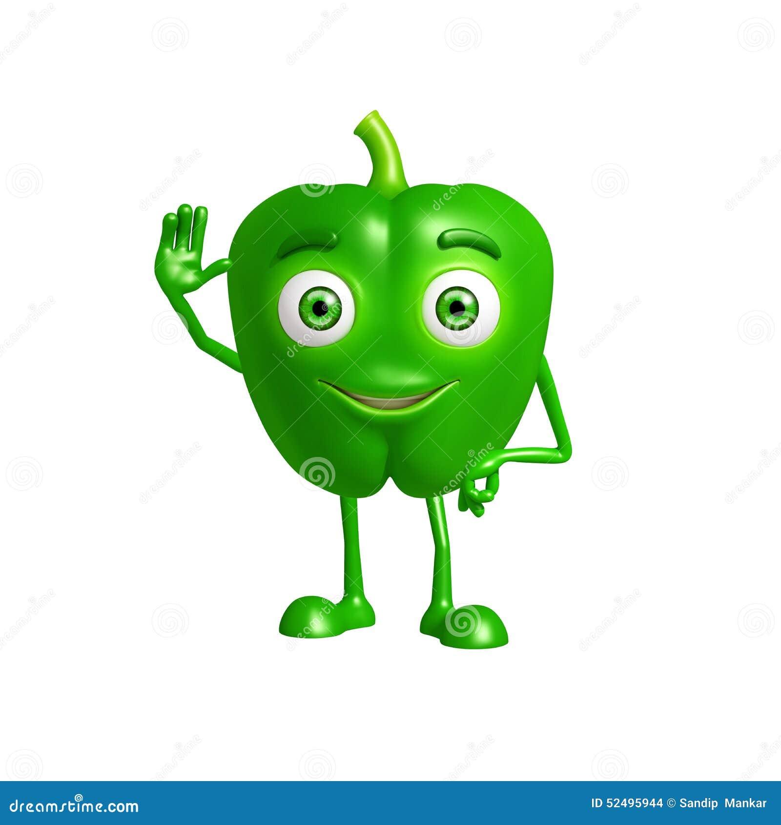 Caractère de poivron avec dire salut la pose