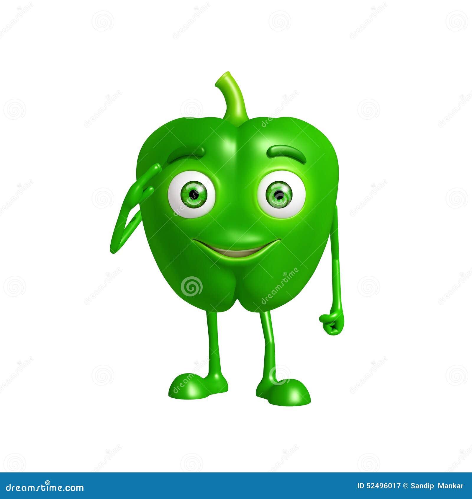 Caractère de poivron avec la pose de salut
