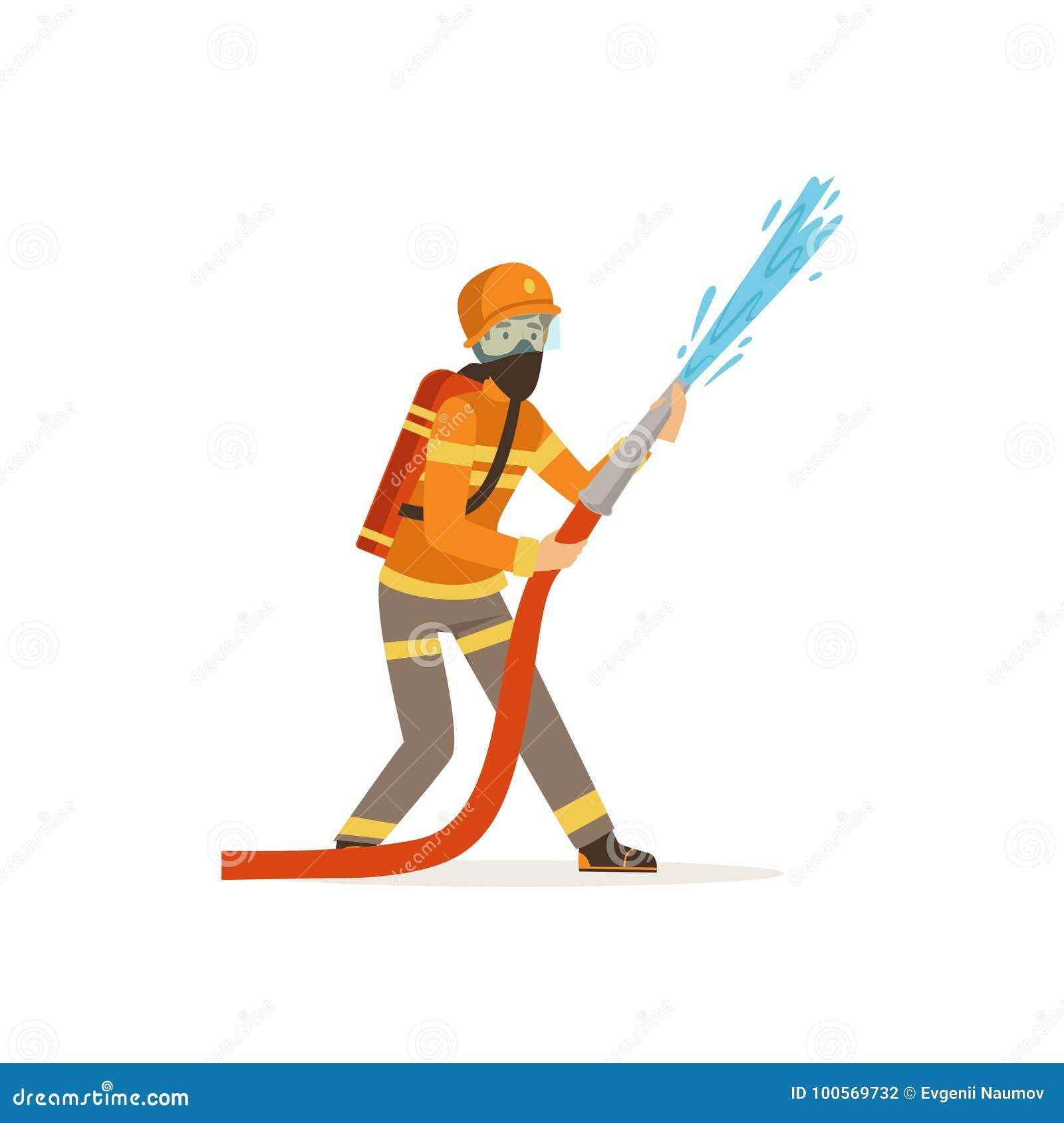 Caractère de pompier dans le masque uniforme et protecteur tenant le tuyau s éteignant le feu avec de l eau, sapeur-pompier au ve