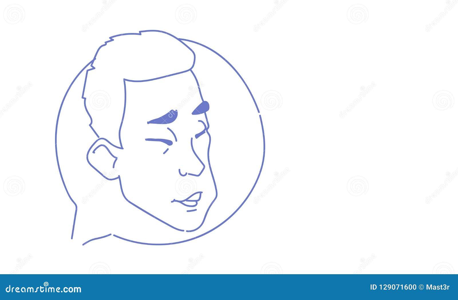Caractère en ligne d homme de griffonnage de croquis de concept de communication d effort d émotion de causerie de bulle de profi