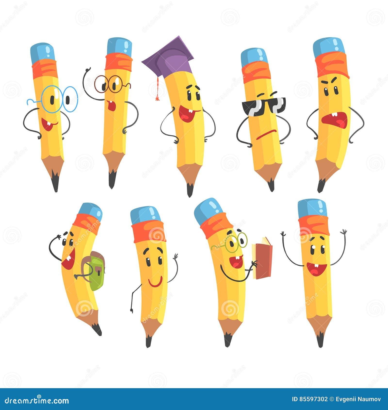 Caractere Humanise Mignon De Crayon Avec Des Bras Et Des