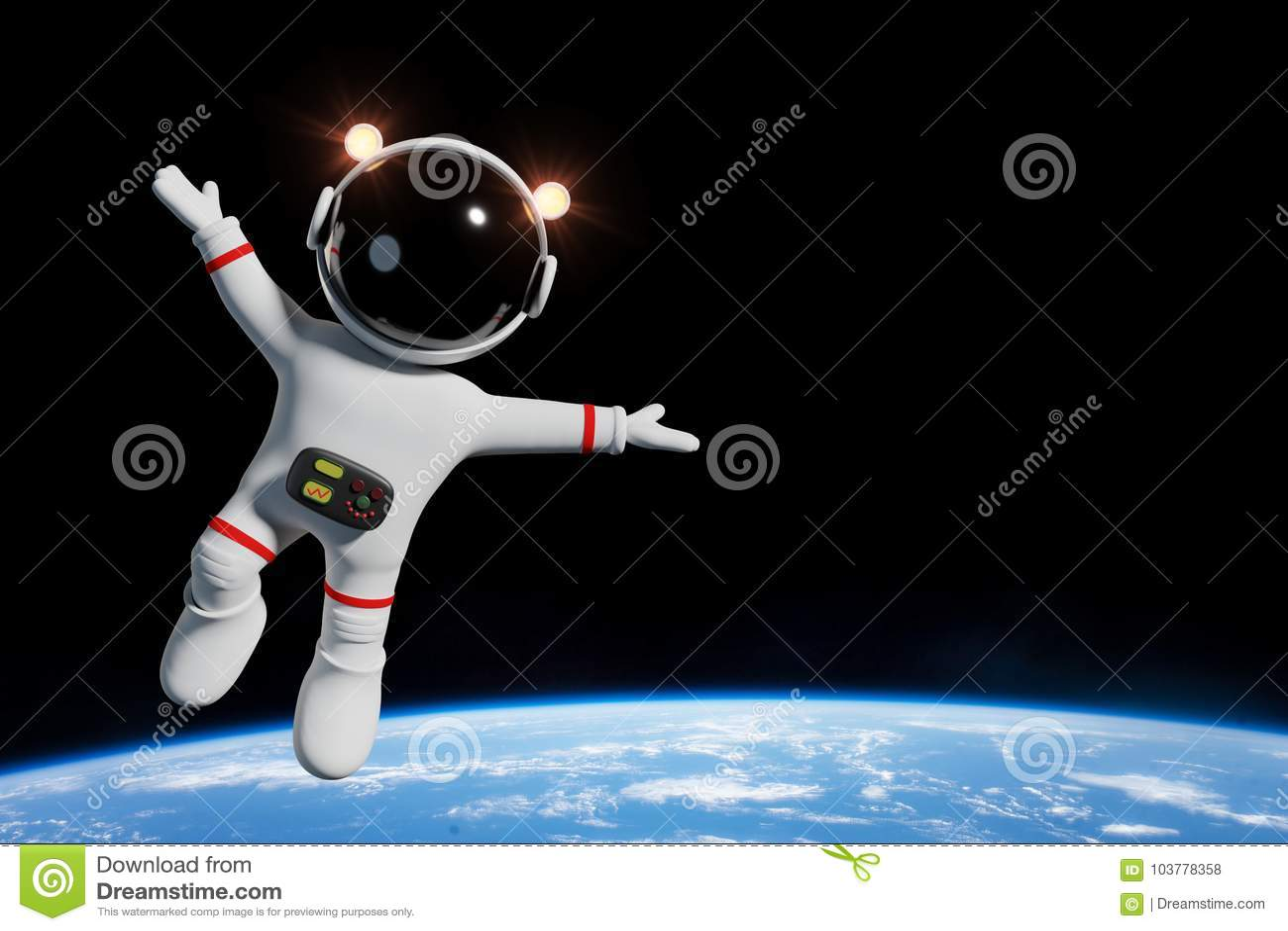 Caractère mignon d astronaute de bande dessinée en orbite de l illustration de la terre 3d de planète