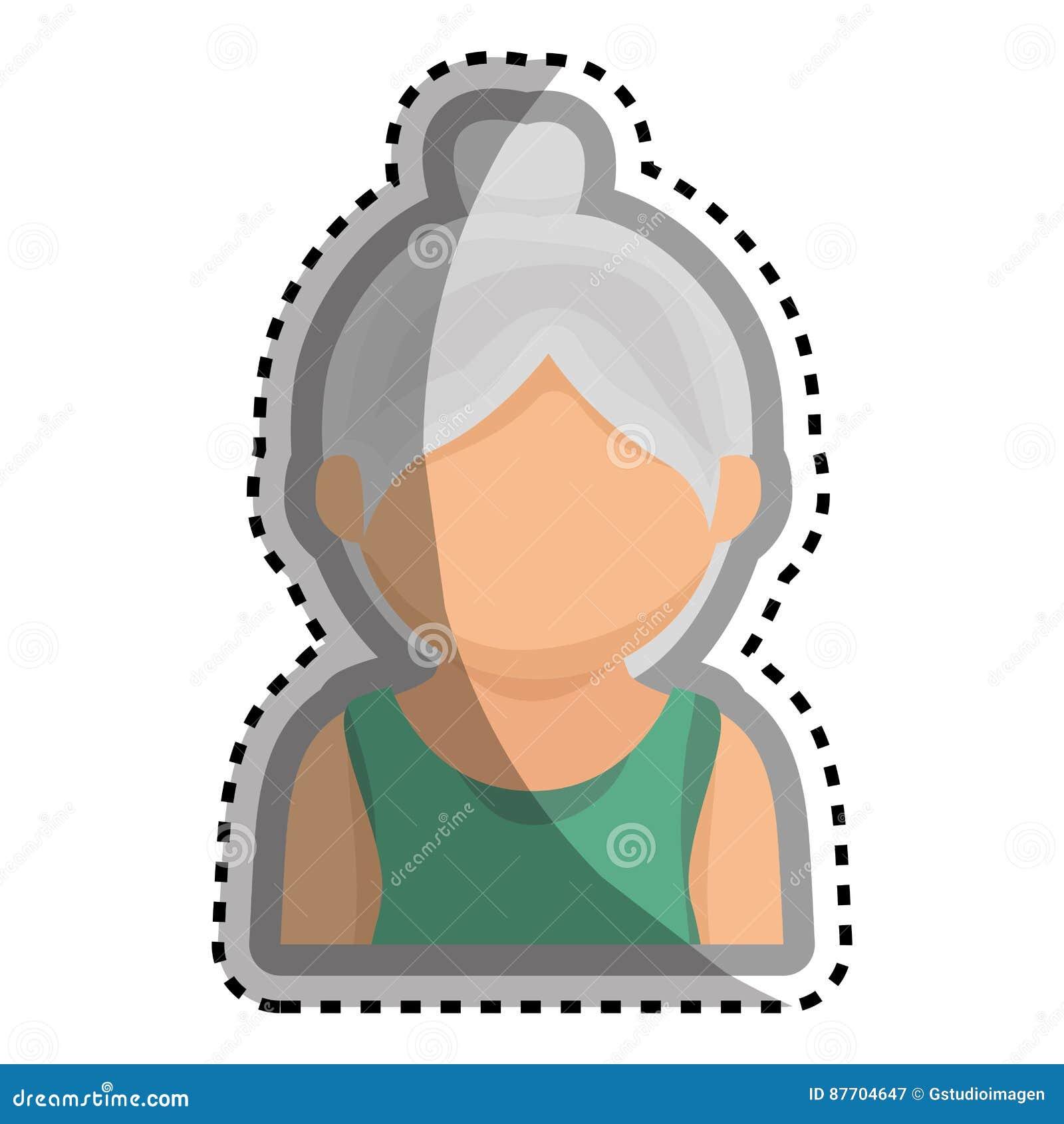 Caractère mignon d avatar de grand-mère