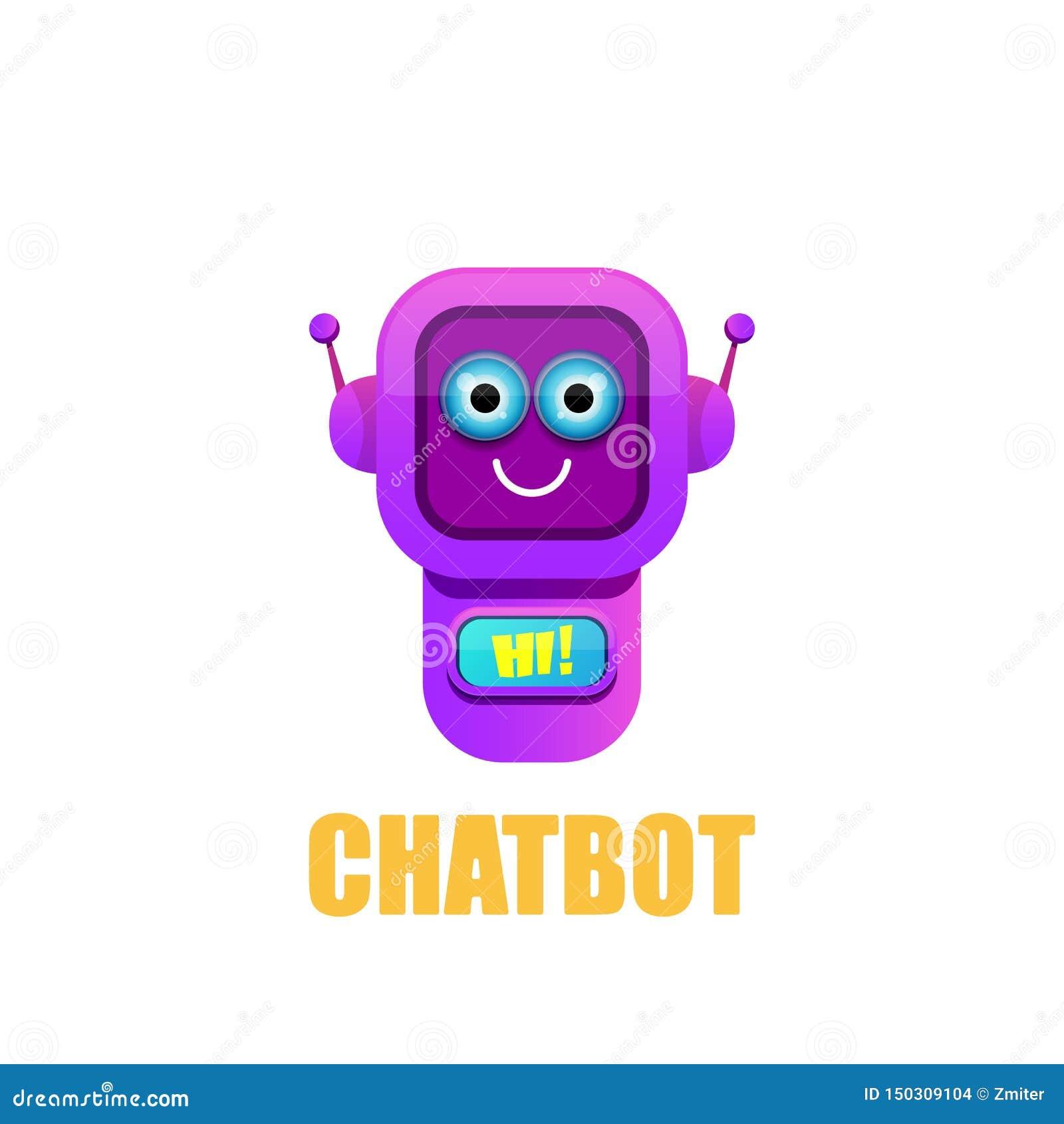 Caractère mignon de chatbot d isolement sur le fond blanc Assistant drôle de robot de vecteur, bot de broutement, logo de chatbot
