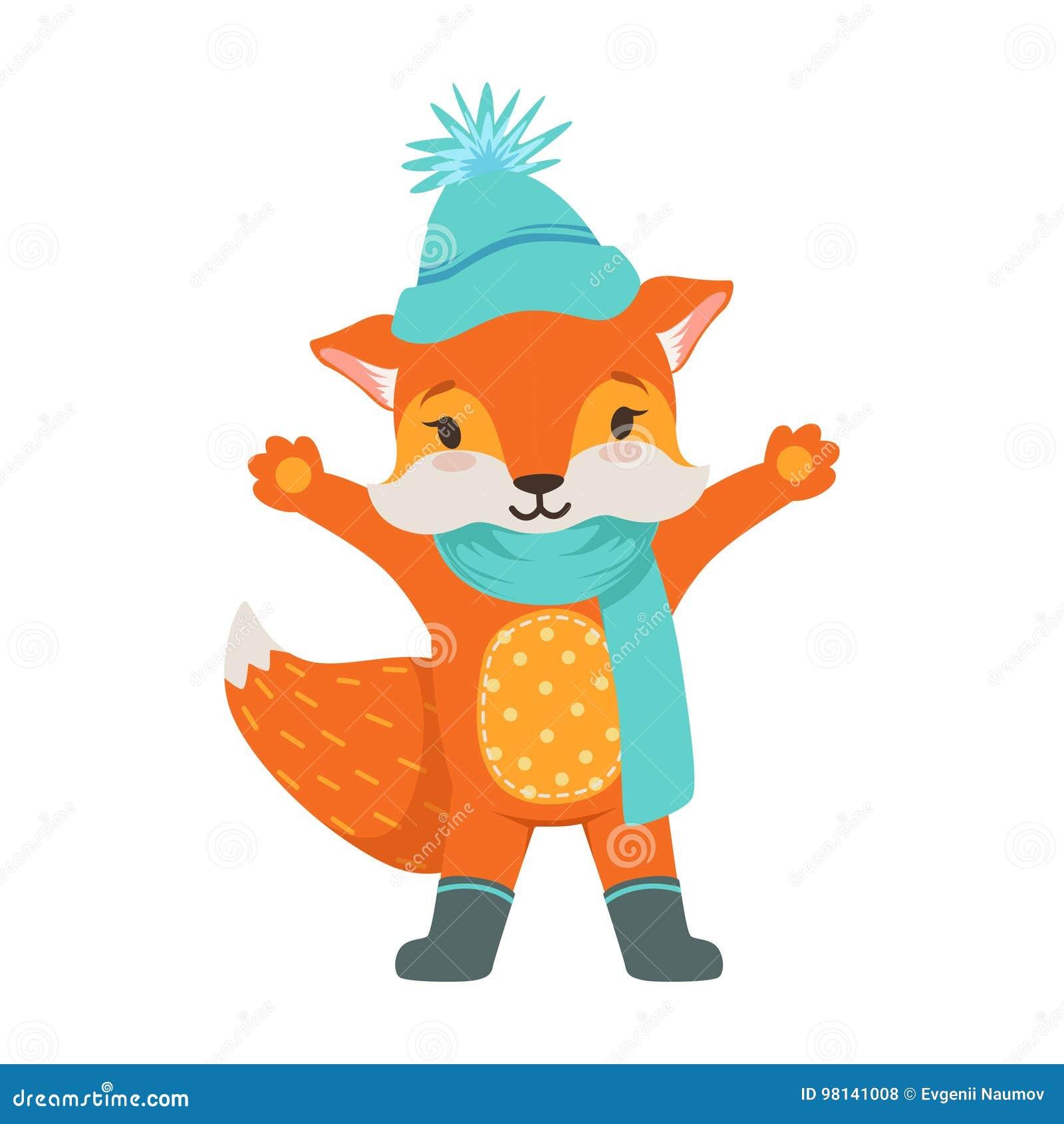 Caractère orange mignon de renard portant dans un chapeau et une écharpe  tricotés bleu-clair 08ae2cac5f2
