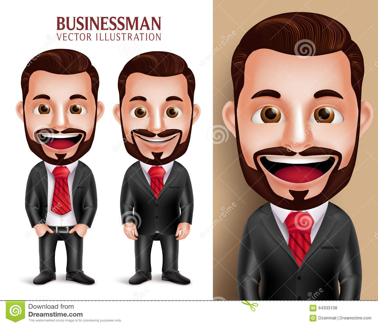 Caractère professionnel de vecteur d homme d affaires heureux dans le vêtement d entreprise attrayant