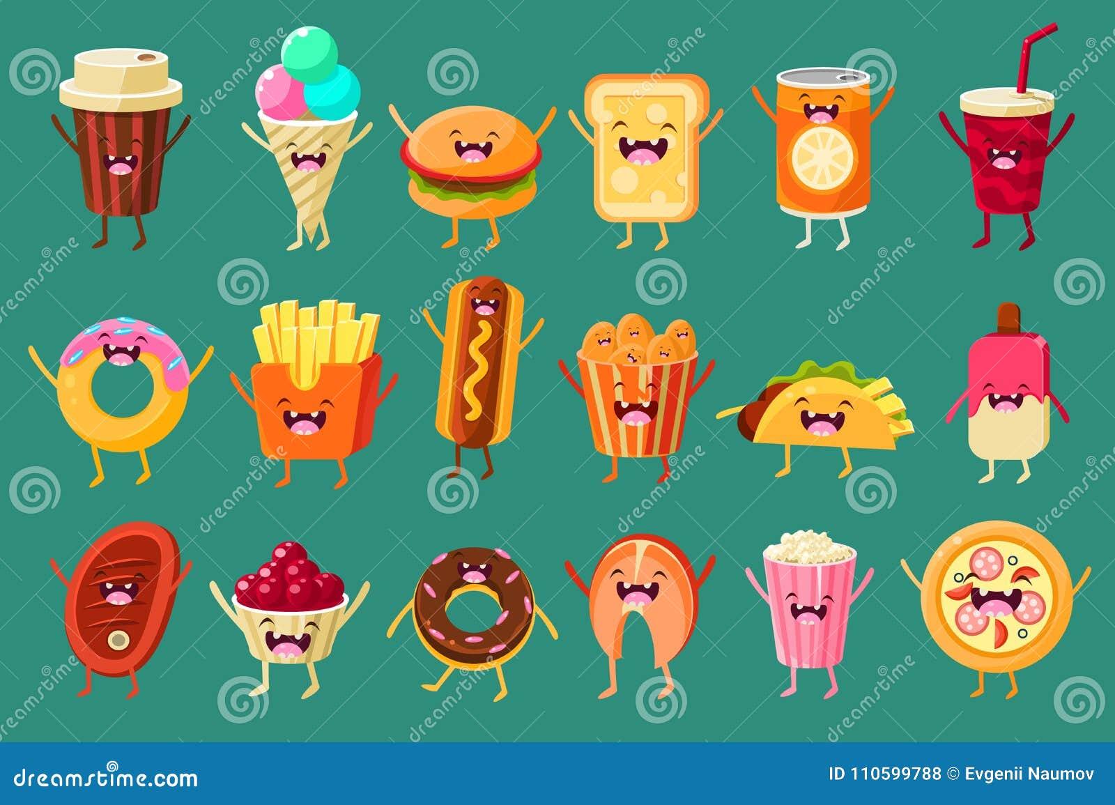 Caractères comiques drôles pavé, crème glacée, café, hot-dog, pizza, pommes frites, pain grillé, hamburger, boisson non alcoolisé