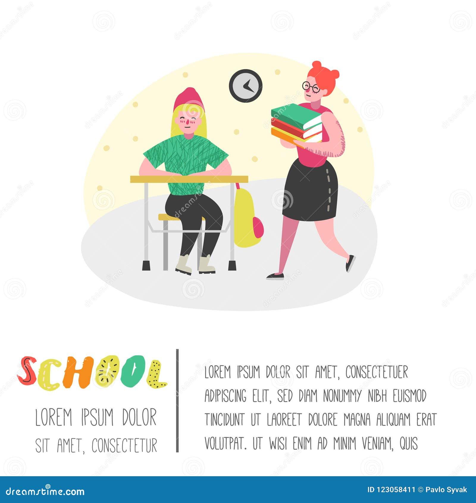 Caractères d étudiants et d élèves réglés De nouveau à l école badine l affiche Salle de classe avec des écoliers avec des sacs à