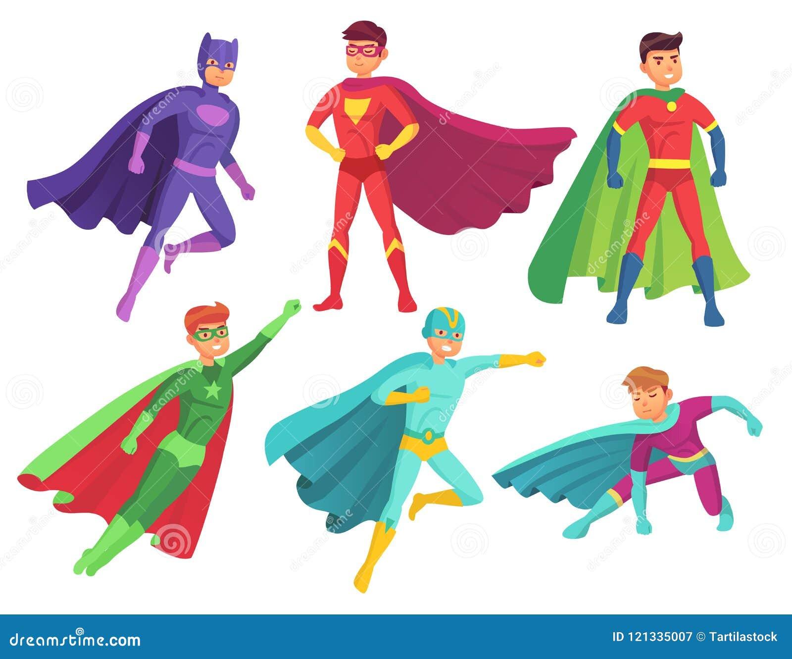Caractères d homme de super héros Caractère musculaire de héros de bande dessinée dans le costume superbe coloré avec le manteau