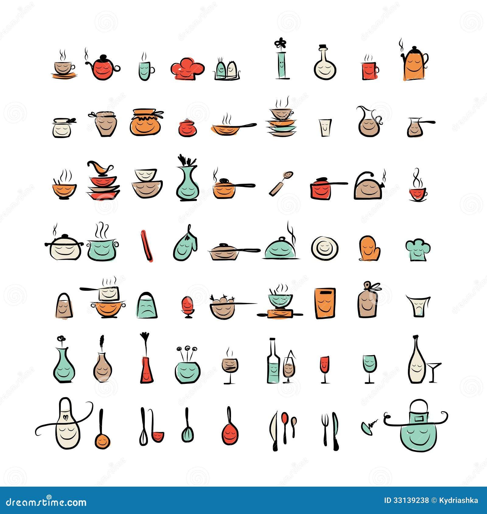 Caract res d 39 ustensiles de cuisine ic nes de dessin de croquis illustration de vecteur - Ustensile de cuisine anglais ...