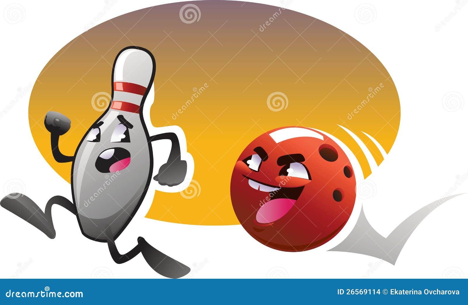 Caract res de bowling de bande dessin e ex cut s avec le fond de couleur illustration stock - Bowling dessin ...