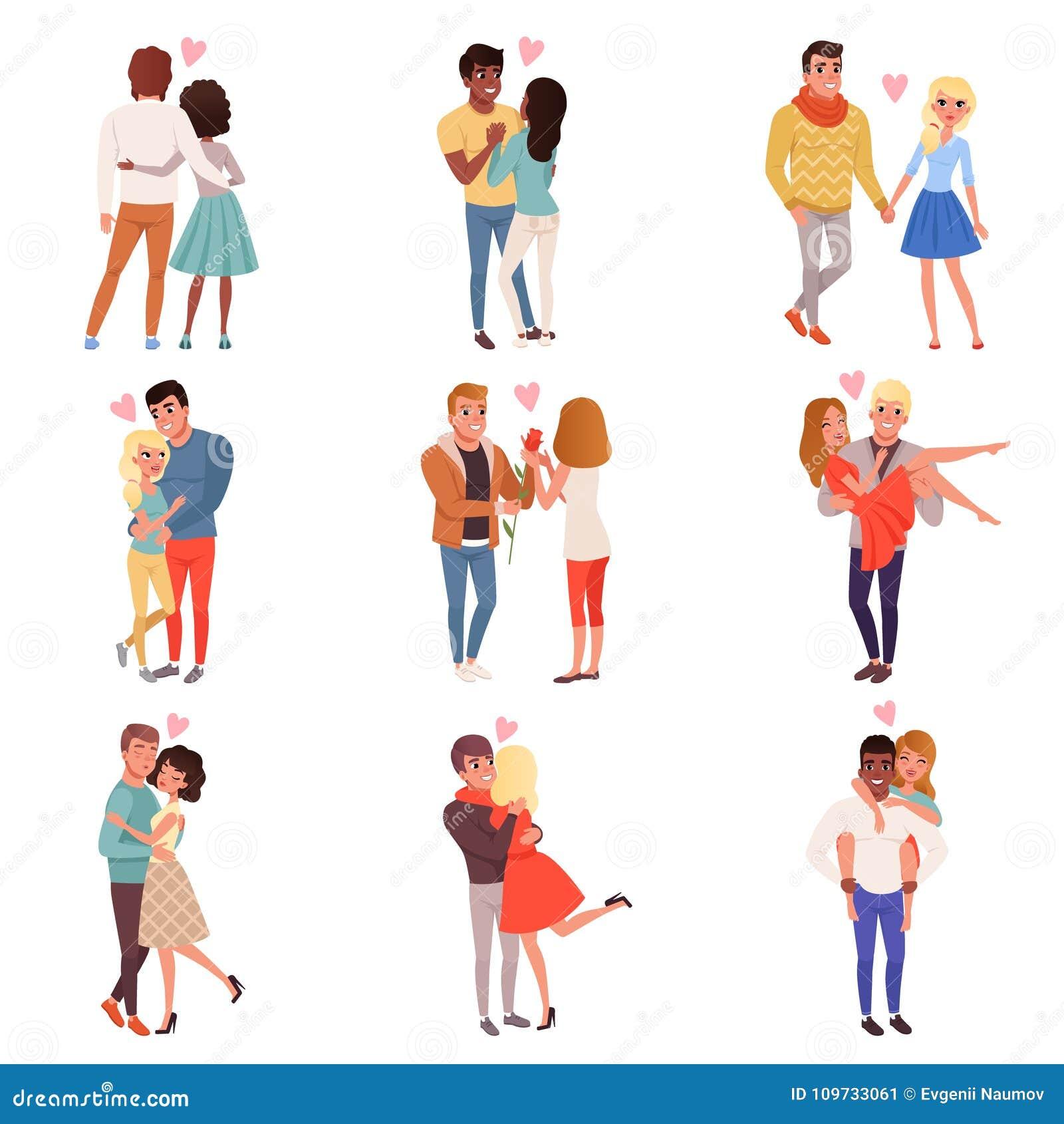 Caractères de jeunes hommes et de femmes dans l amour étreignant l ensemble, illustrations affectueuses romantiques heureuses de