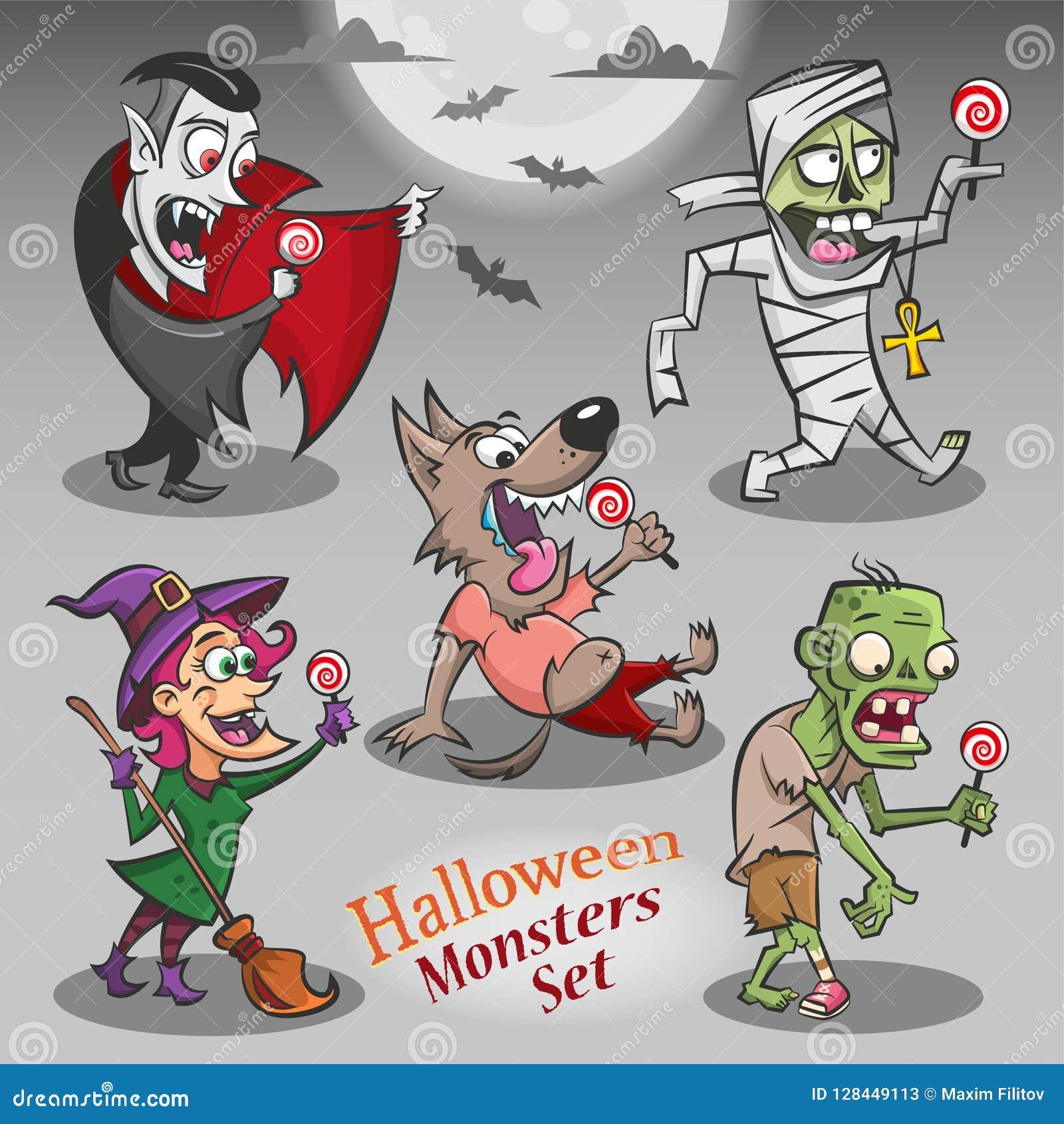 Caractères de monstres de Halloween avec des sucreries