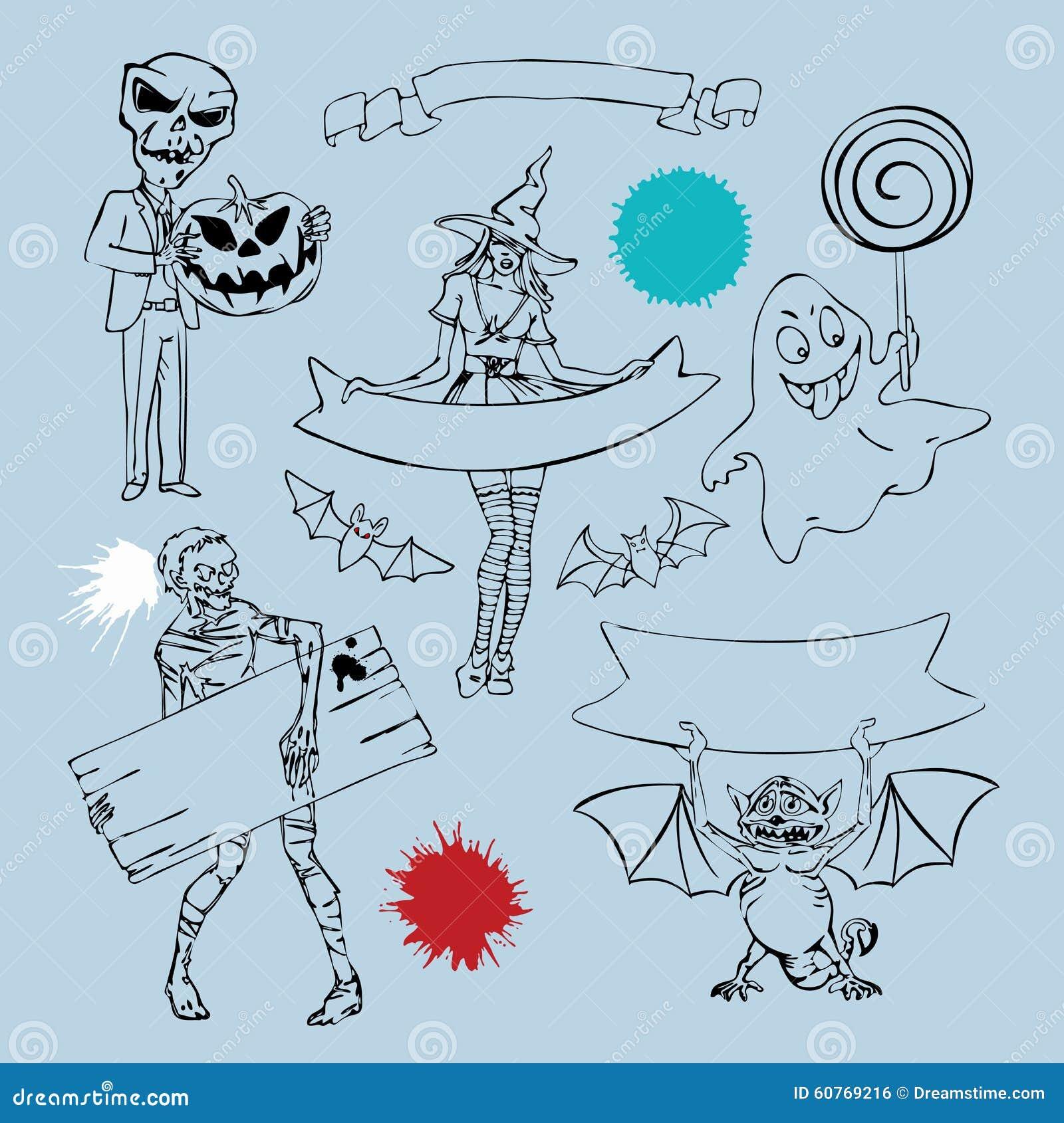 Caractères et éléments de graphique pour la conception de Halloween