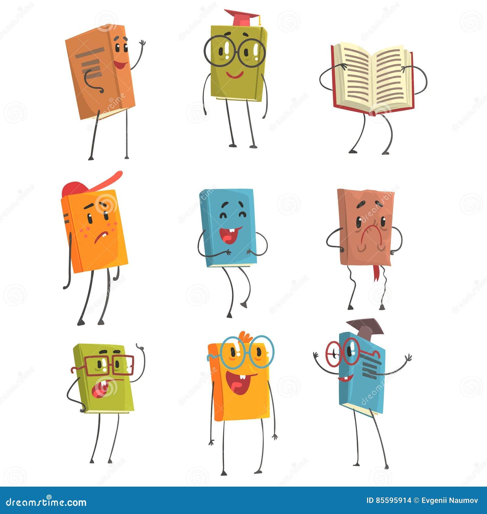 Caracteres Humanises Mignons D Emoji De Livre Representant