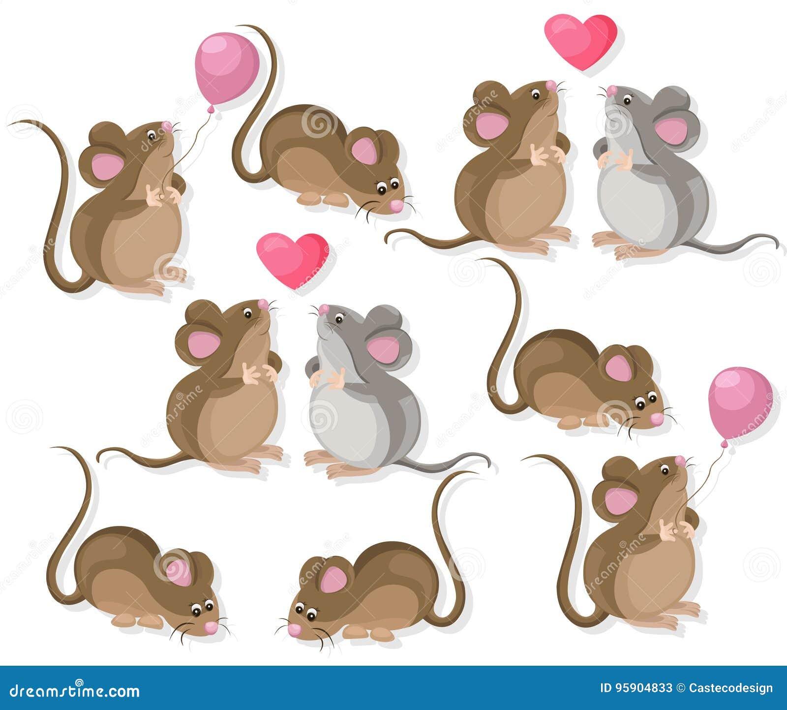 Dessin Amoureux Mignon caractères mignons drôles de couples de souris dans l'amour