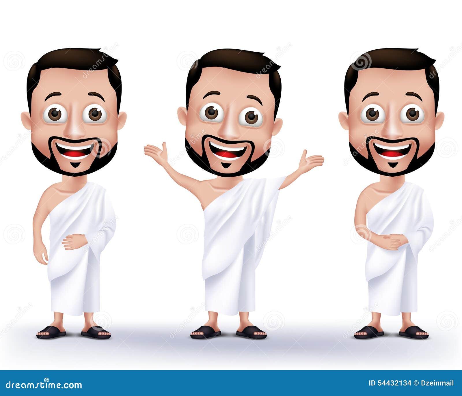 Caractères musulmans d homme portant des tissus d Ihram pour le hadj ou l Umrah de exécution
