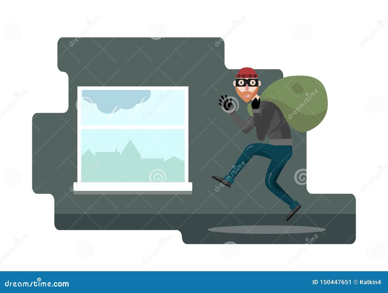 Caract?re dr?le de voleur Illustration de vecteur Bandit avec le sac Le voleur dans le masque sort par la fenêtre