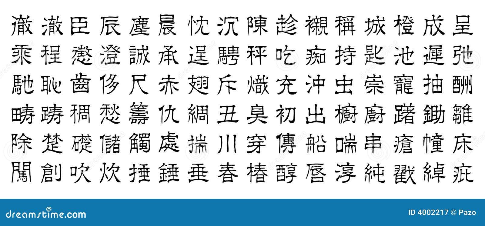 Caracteres chinos v5 ilustración del vector. Ilustración ...