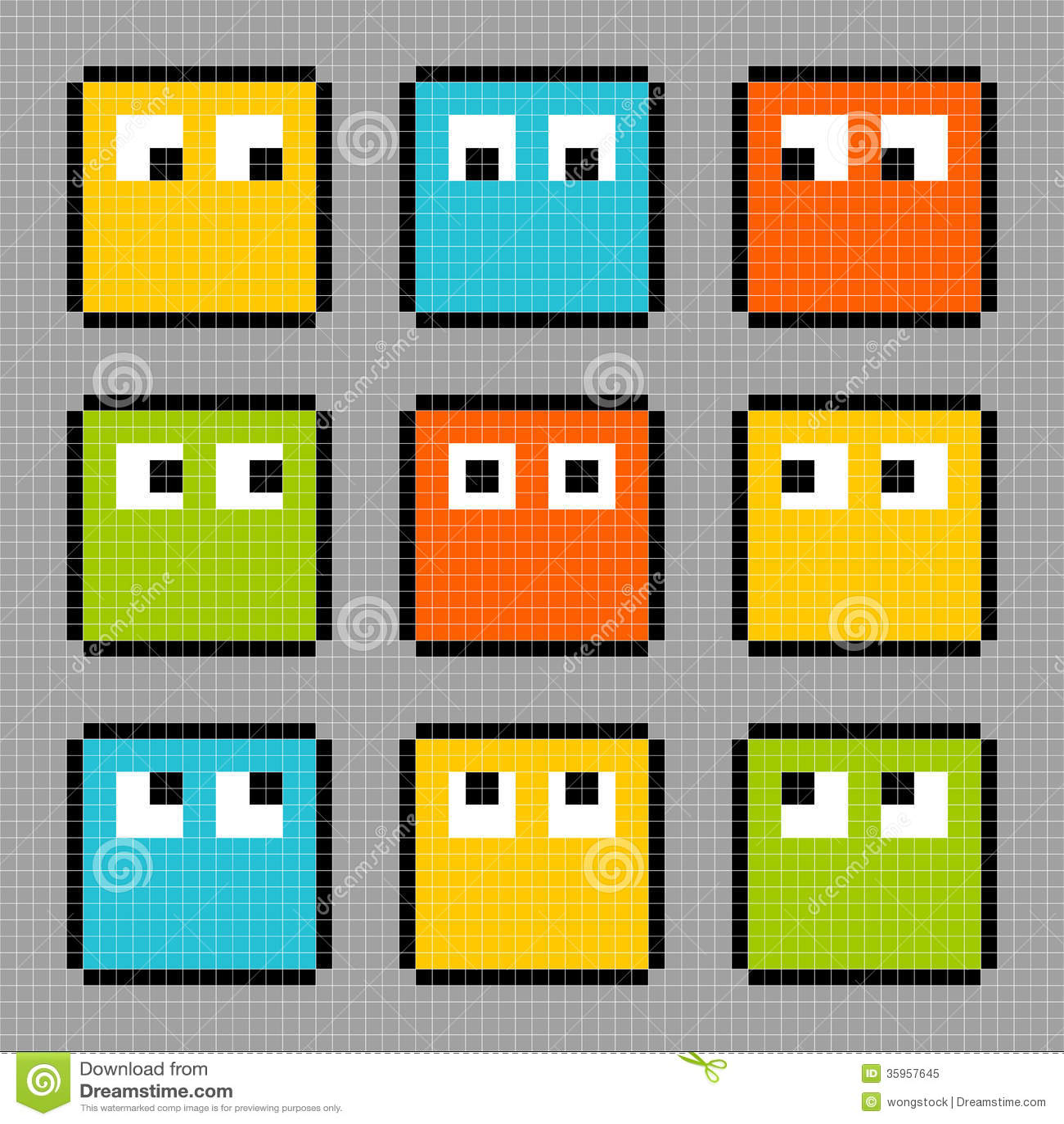 Caracteres de 8 bits del bloque del pixel que miran en diversas direcciones