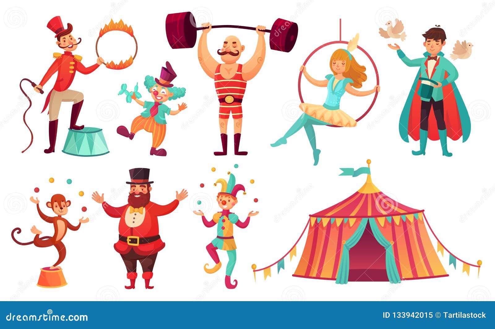Caracteres del circo Animales, payaso del artista del juglar y ejecutante del dictador que hacen juegos malabares Sistema del eje
