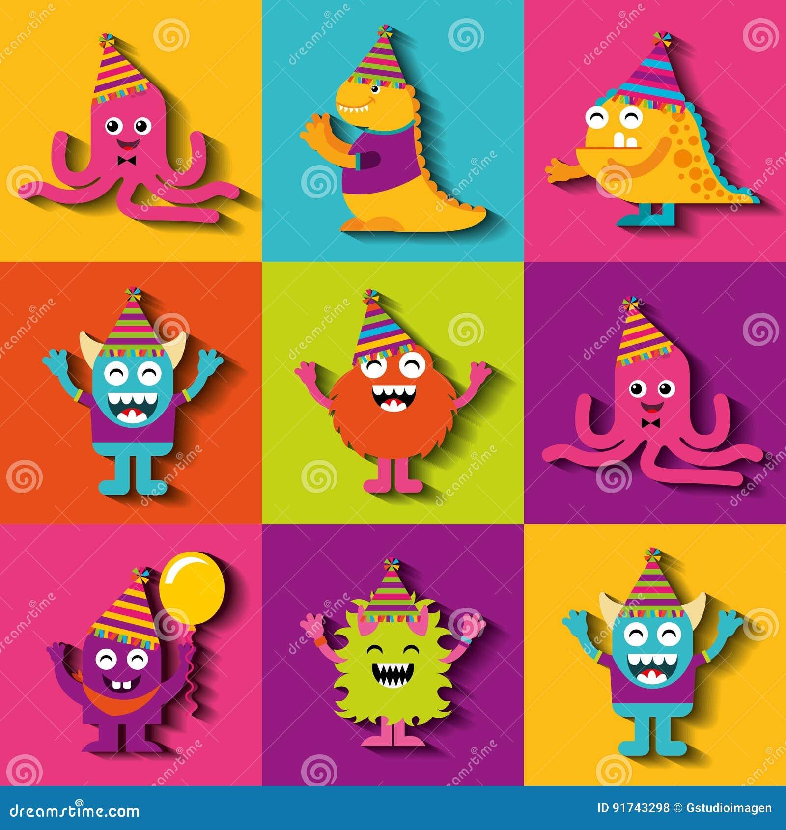 Caracteres del monstruo en fiesta de cumpleaños