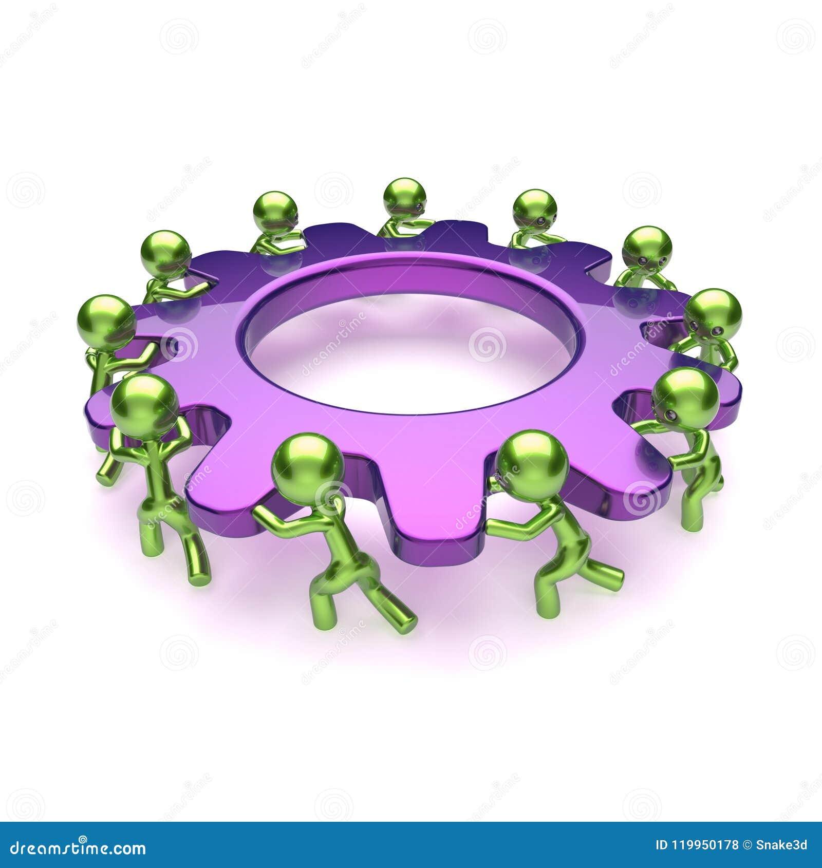Caracteres del proceso de negocio de la rueda dentada del trabajo en equipo, rueda de engranaje púrpura