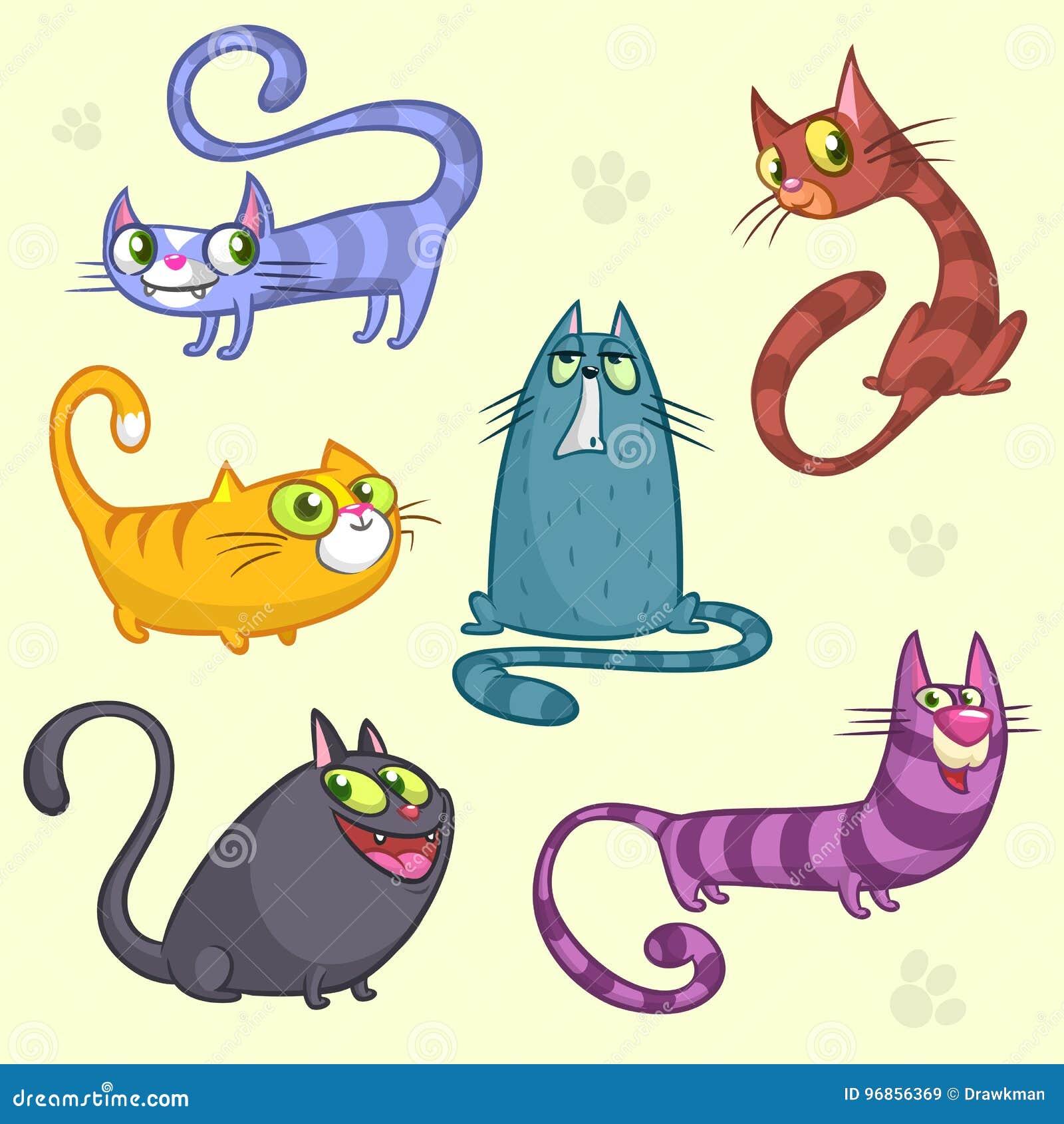 Caracteres divertidos de los gatos de la historieta y del vector Sistema del vector de gatos coloridos El gato cría la colección
