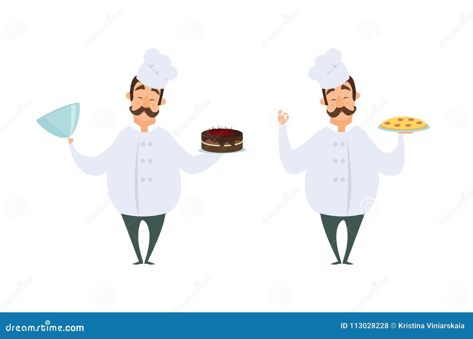 Caracteres divertidos del cocinero en actitudes de la acción