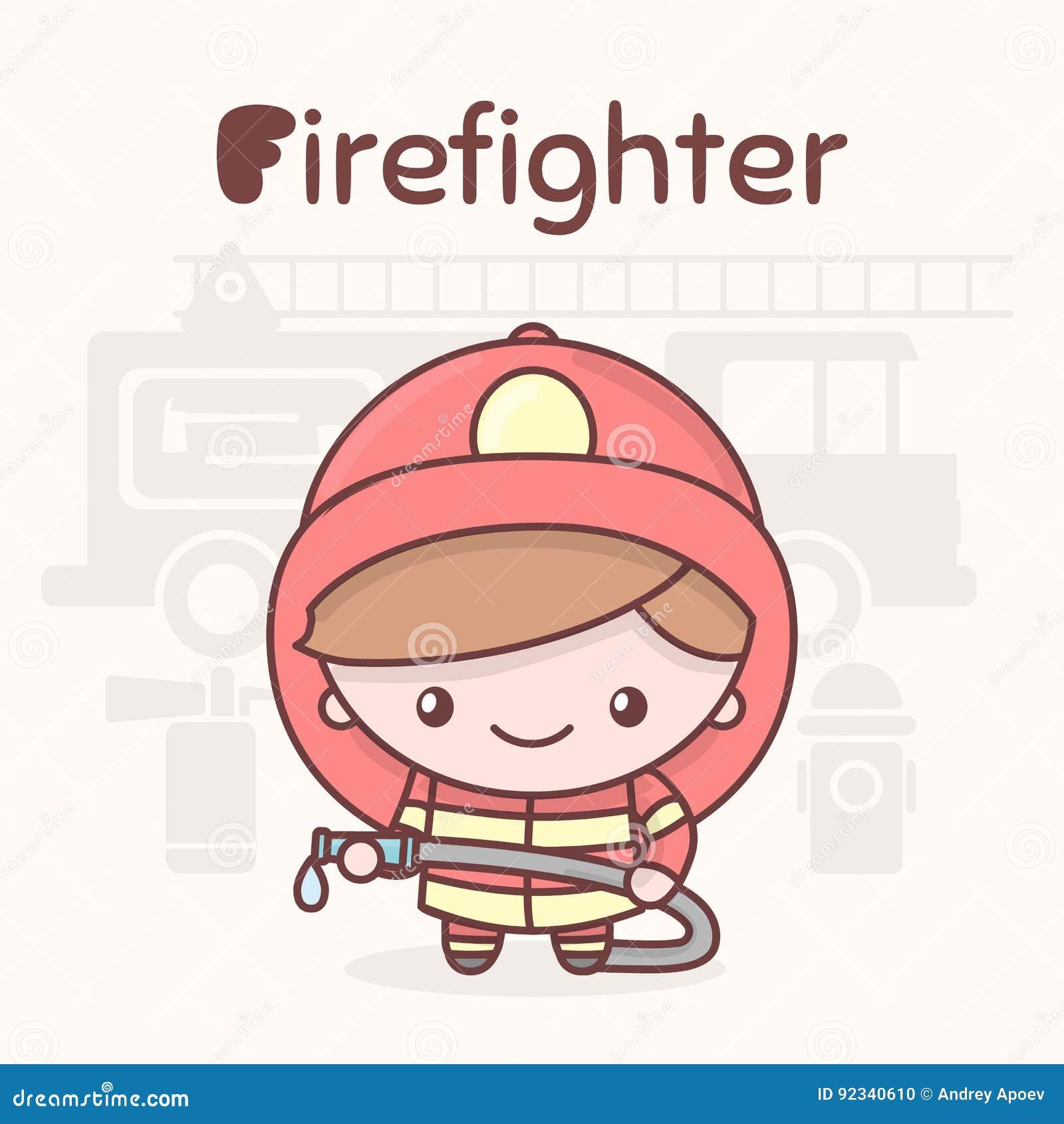 Caracteres lindos del kawaii del chibi Profesiones del alfabeto Letra F - bombero